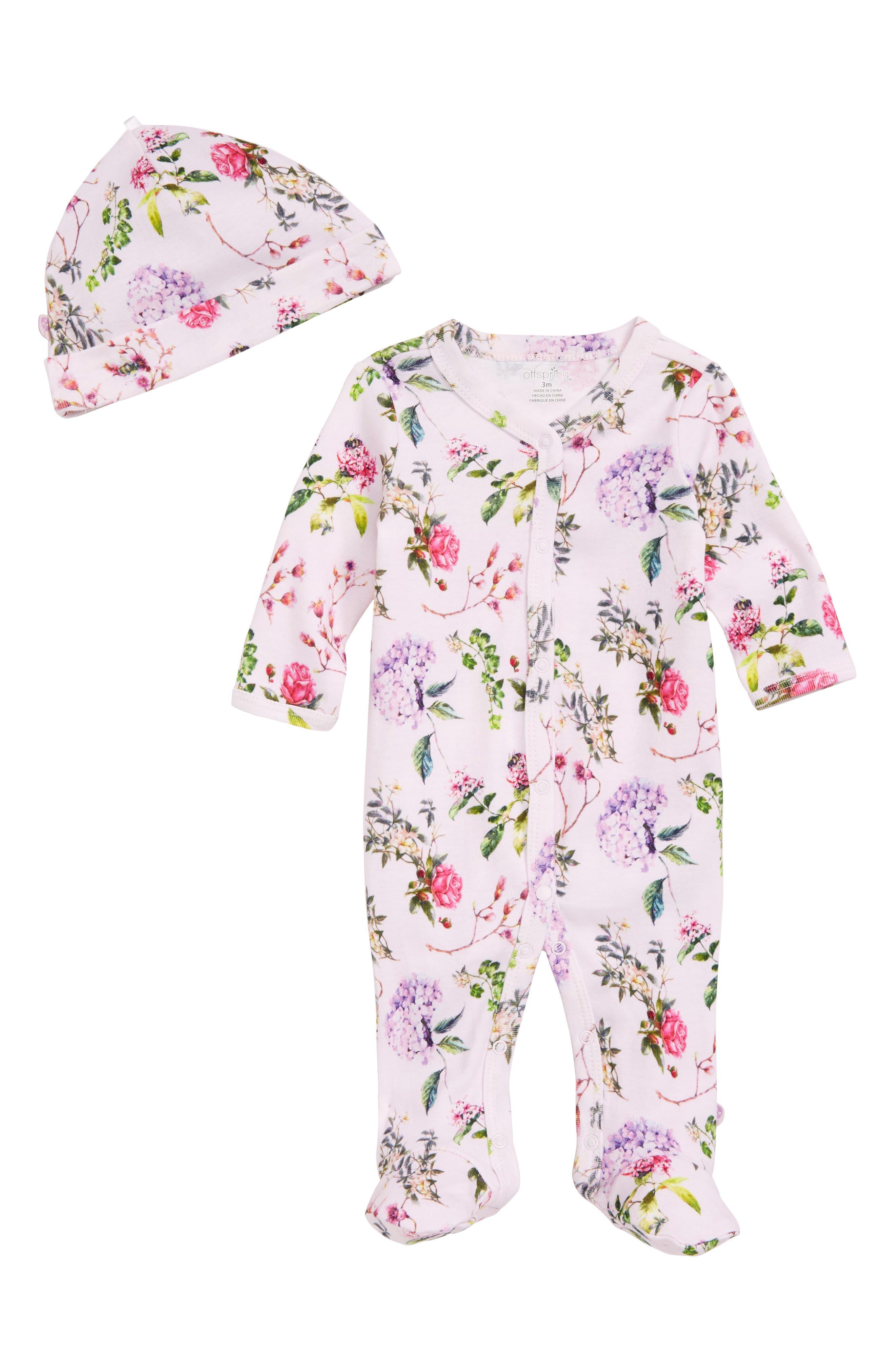 Offspring Botanical Blooms Footie & Hat Set (Baby Girls)