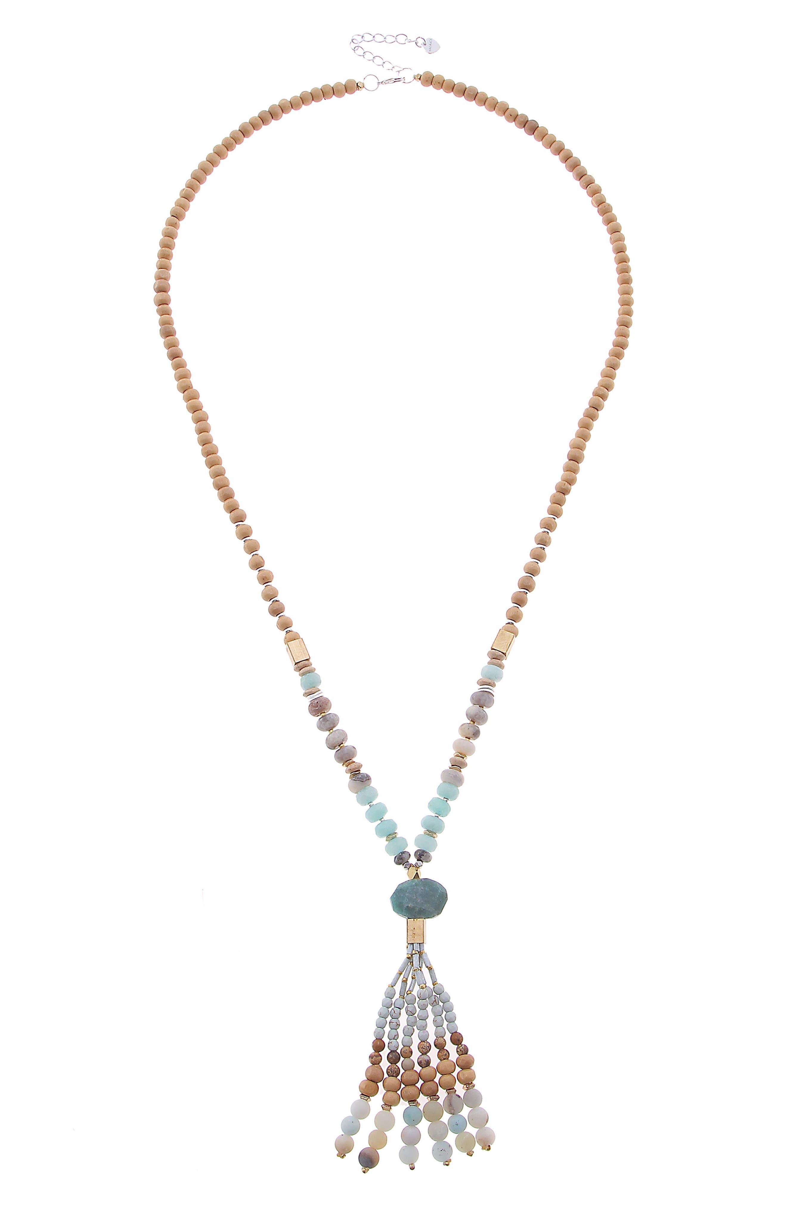 Beaded Tassel Necklace,                         Main,                         color, Aqua Mix