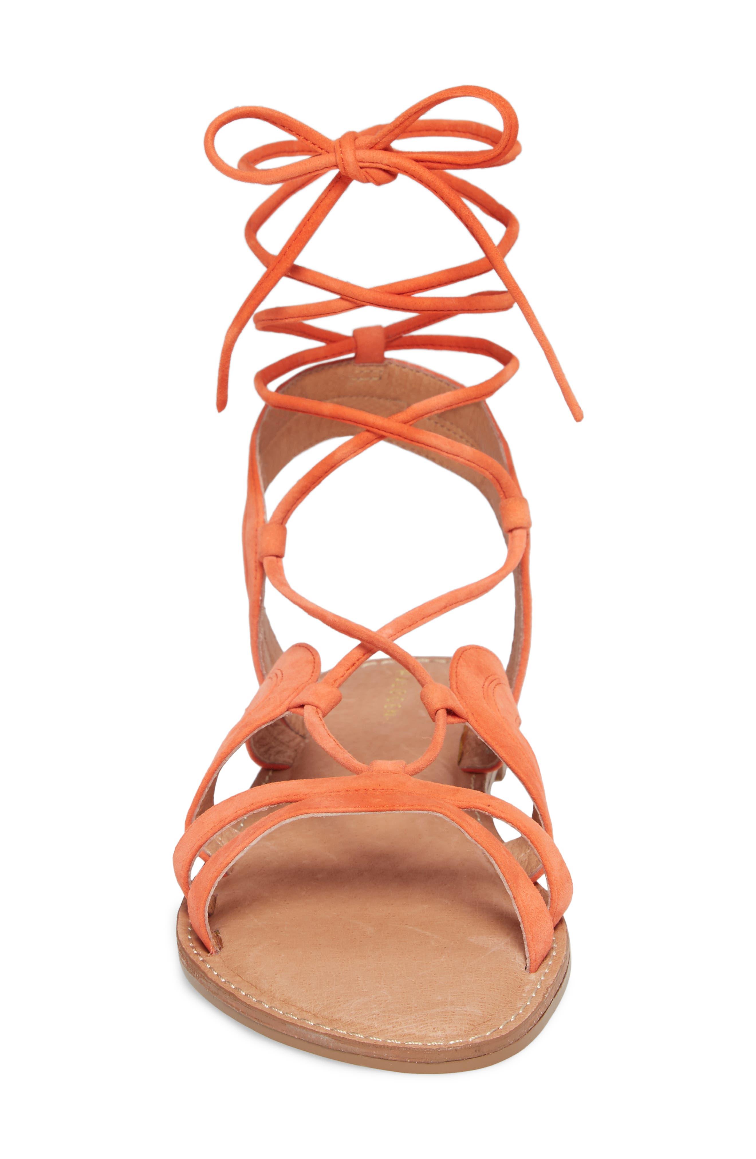 Lilian Gladiator Sandal,                             Alternate thumbnail 4, color,                             Orange Suede