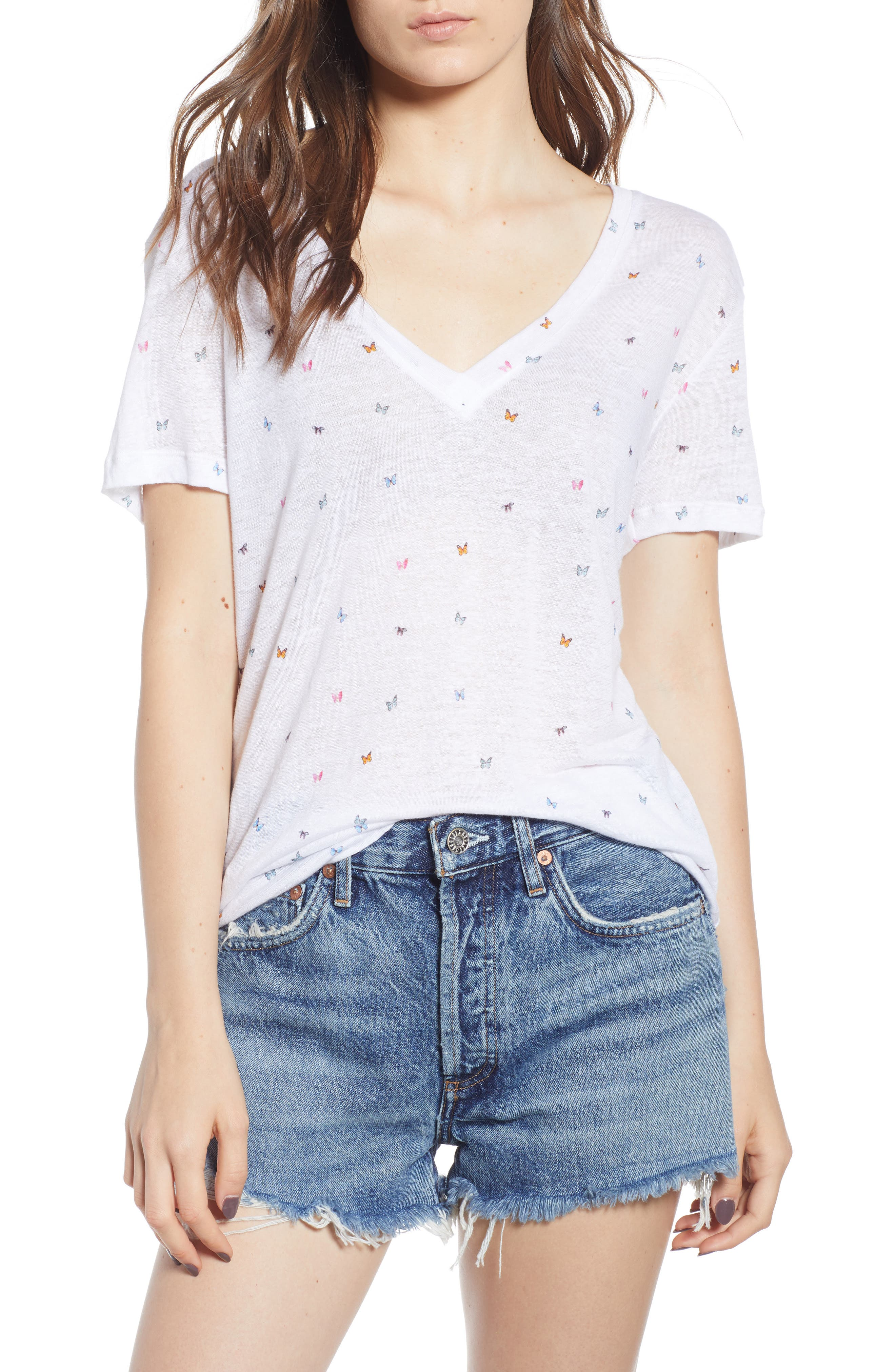 Cara Butterfly Print Tee,                             Main thumbnail 1, color,                             Rainbow Butterflies-White