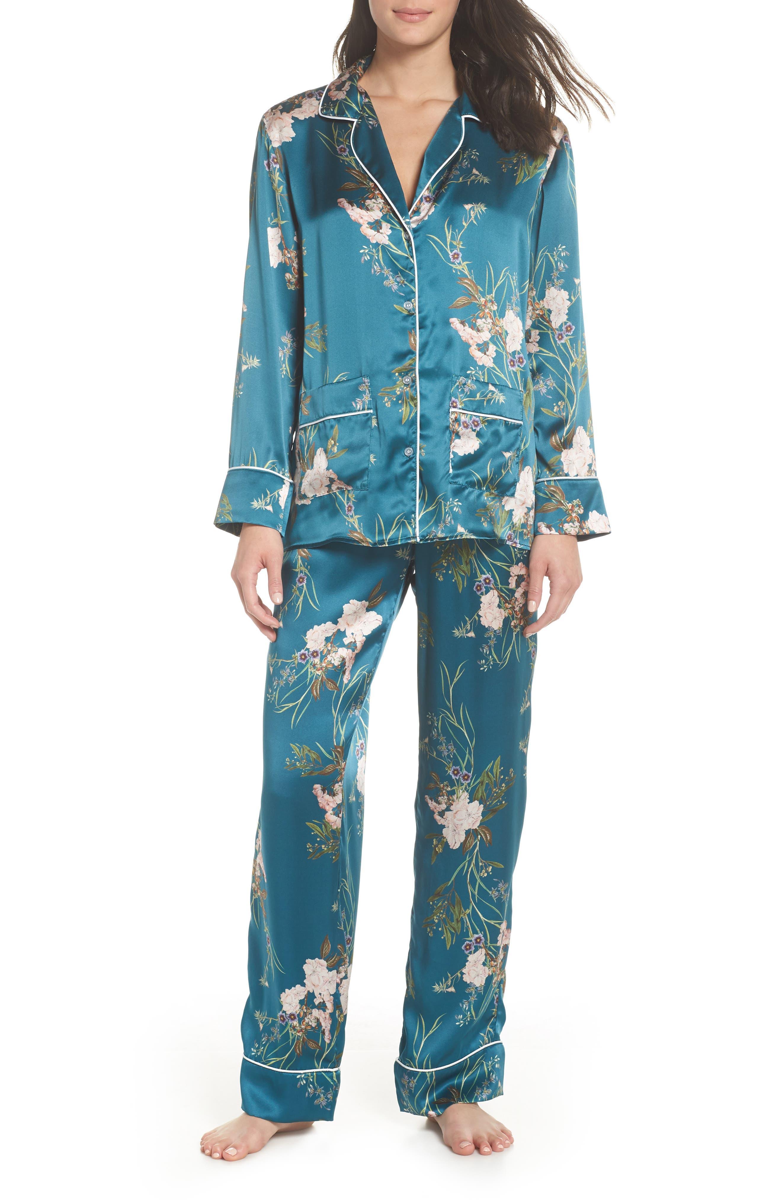Brigette Silk Pajama Top,                             Alternate thumbnail 4, color,                             Teal Floral