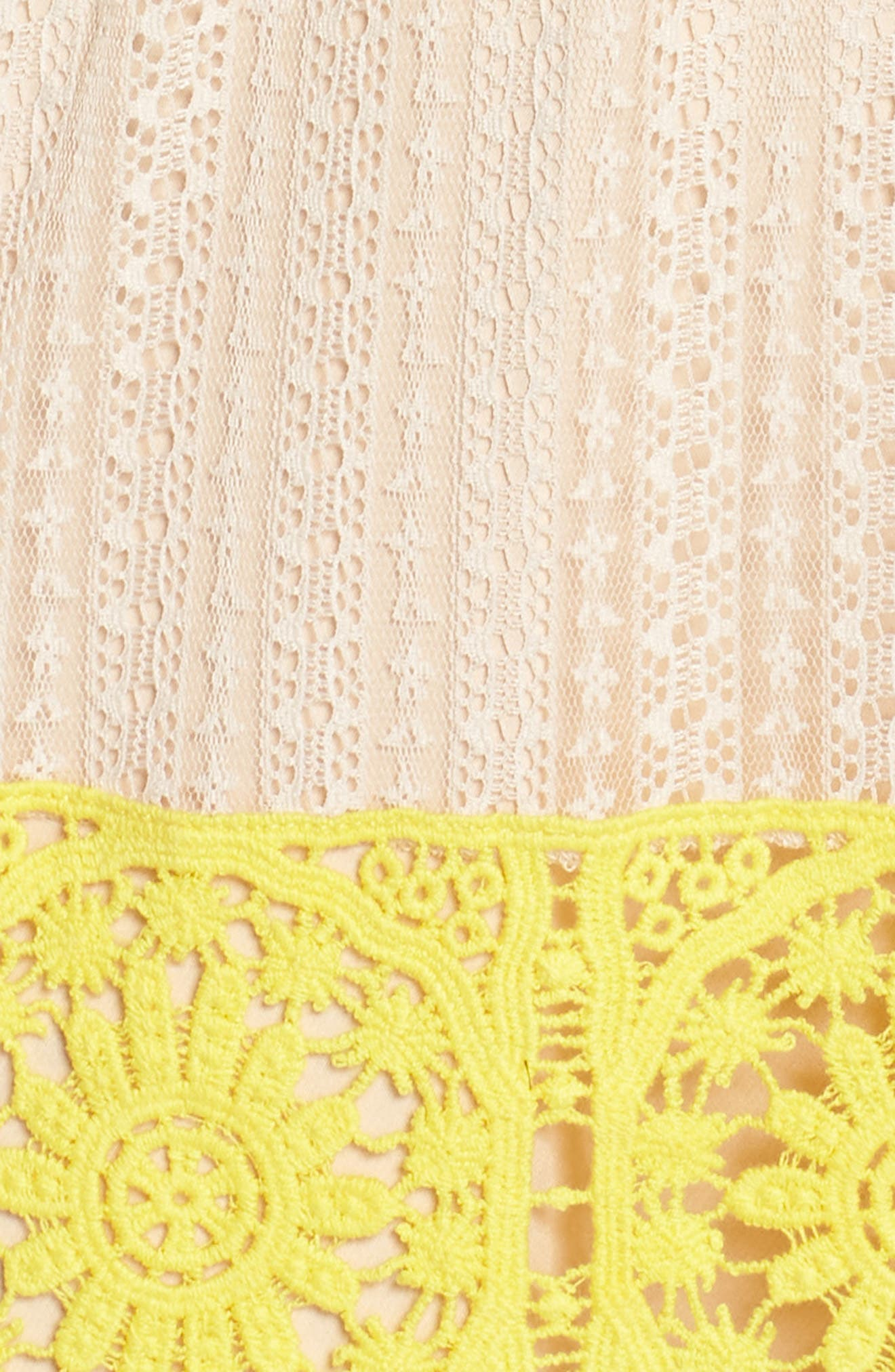 Mia Two-Tone Lace Gown,                             Alternate thumbnail 6, color,                             Yellow/ Nude