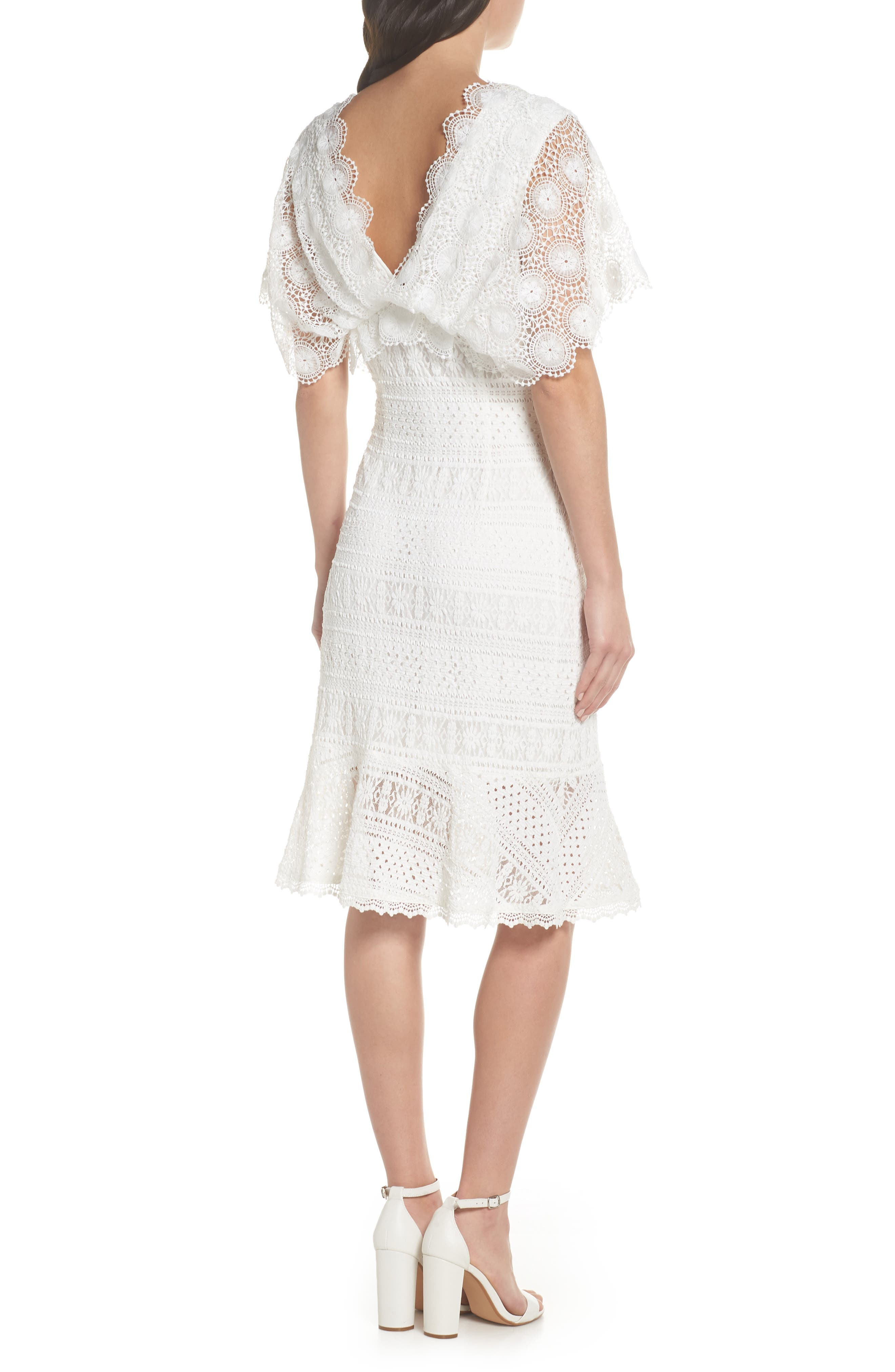 Mavis Scalloped Lace Dress,                             Alternate thumbnail 3, color,                             Off White