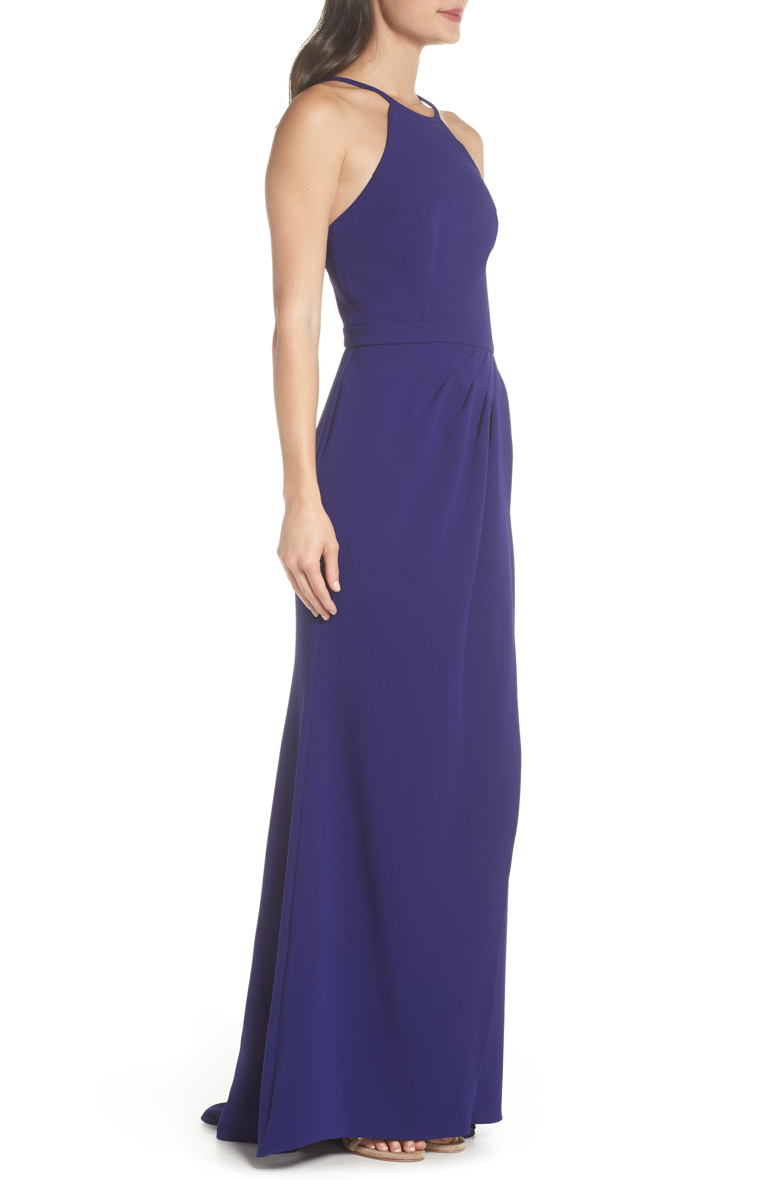 High Neck Gown,                             Alternate thumbnail 3, color,                             Royal