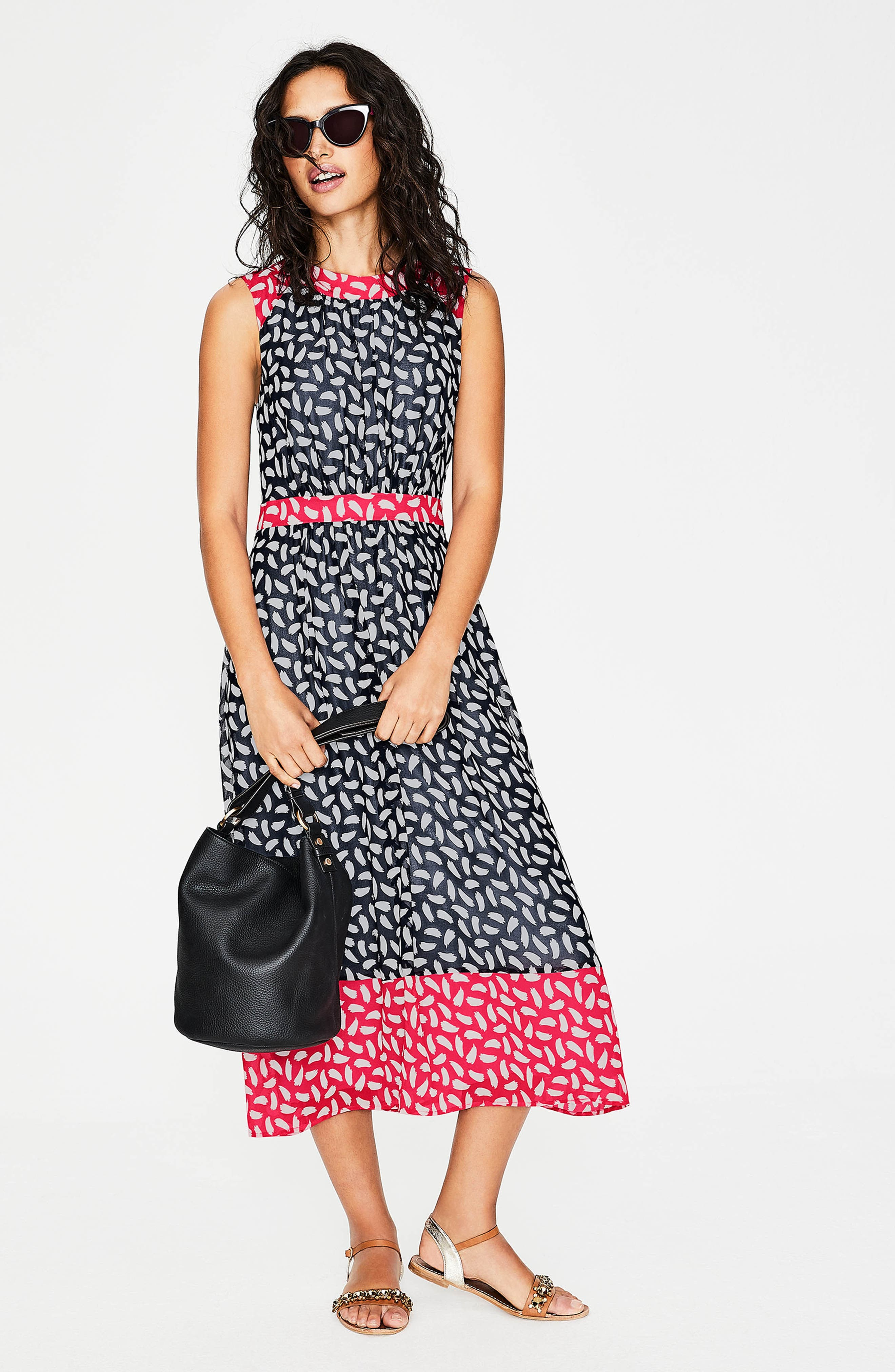 Sylvie Print Sleeveless Dress,                             Alternate thumbnail 4, color,                             Navy Brush Stroke
