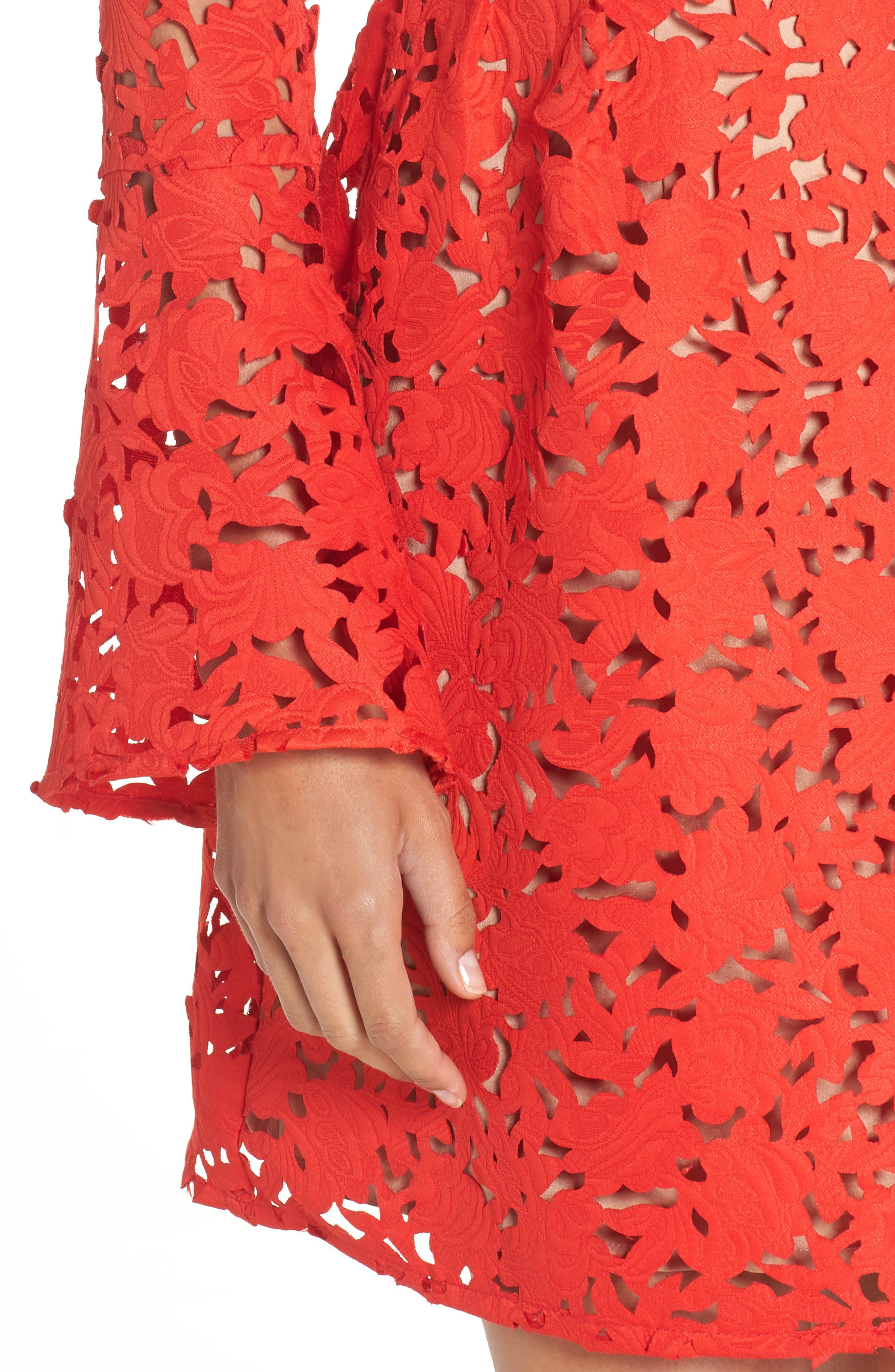 Lazercut Bell Sleeve Fit & Flare Dress,                             Alternate thumbnail 4, color,                             Sangria