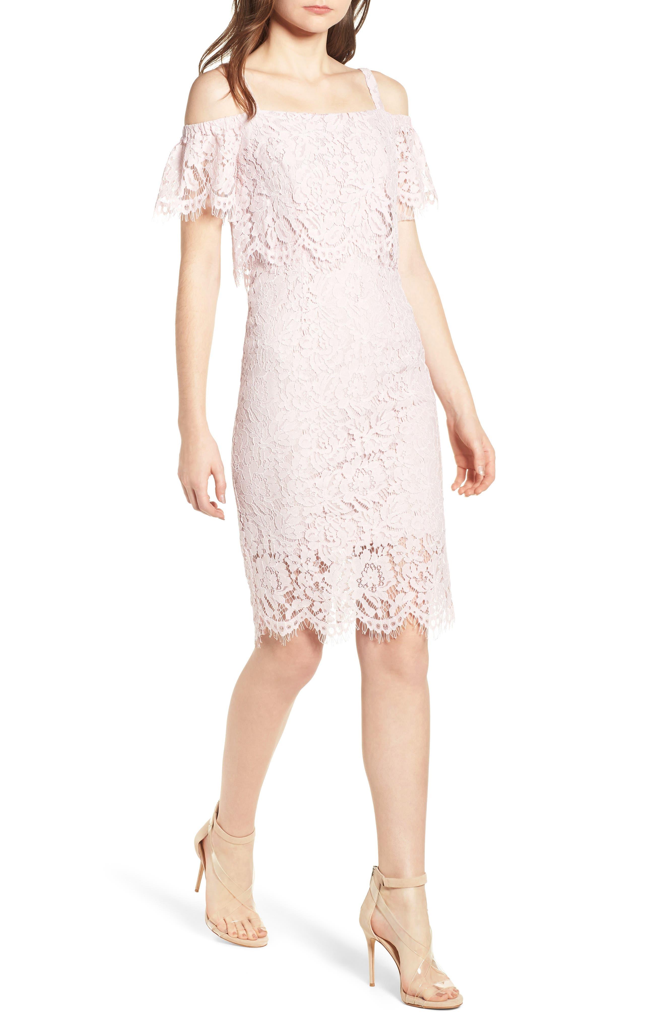 Popover Lace Dress,                             Main thumbnail 1, color,                             Pale Pink