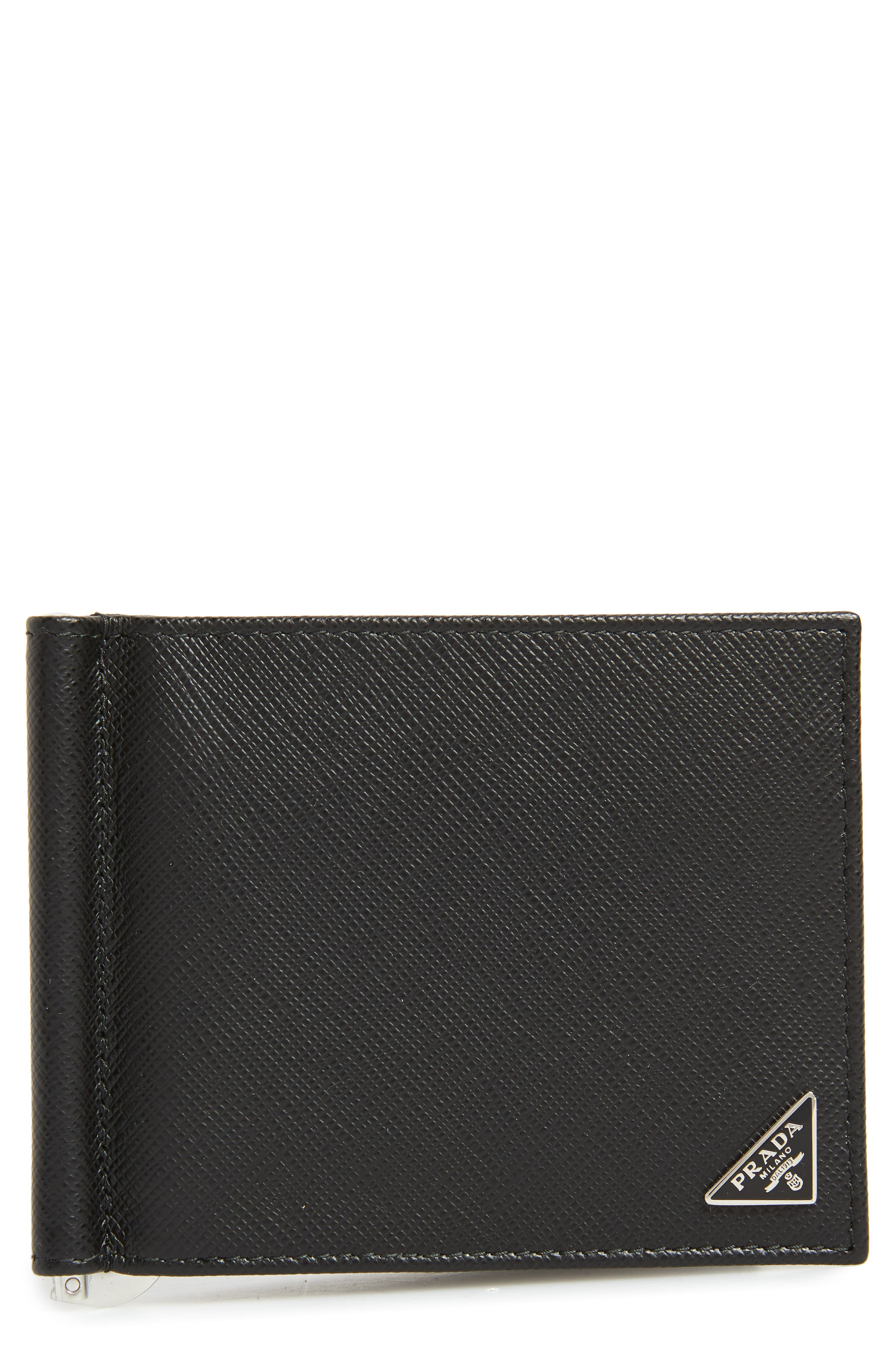 Prada Saffiano Leather Money Clip Wallet