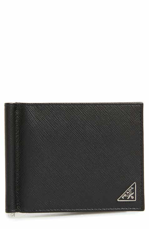 9a9d8c58619c41 Prada Saffiano Leather Money Clip Wallet