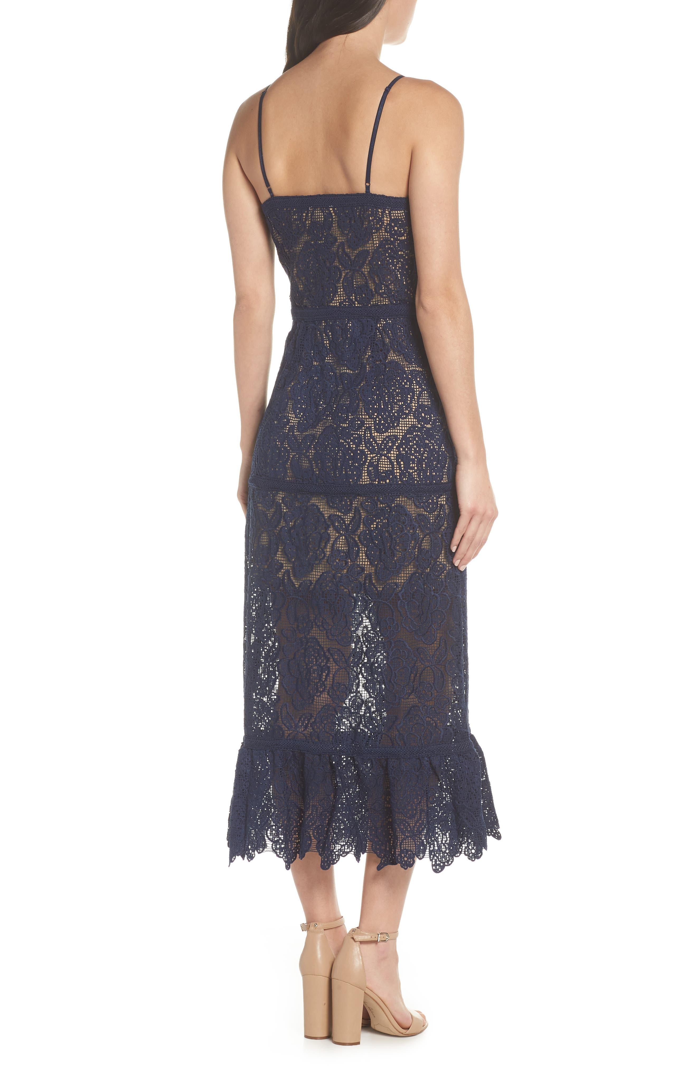 Majorie Lace Dress,                             Alternate thumbnail 3, color,                             Navy