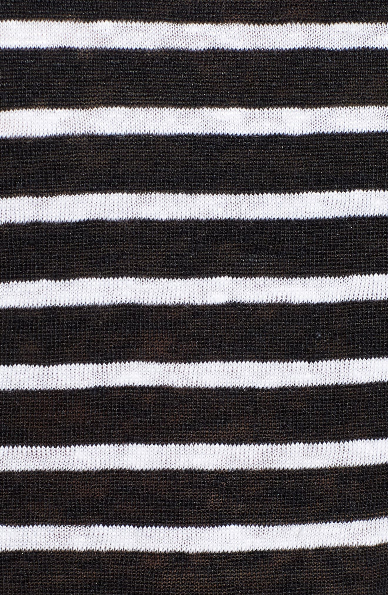 Stripe Boxy Organic Linen Top,                             Alternate thumbnail 5, color,                             Black/ White