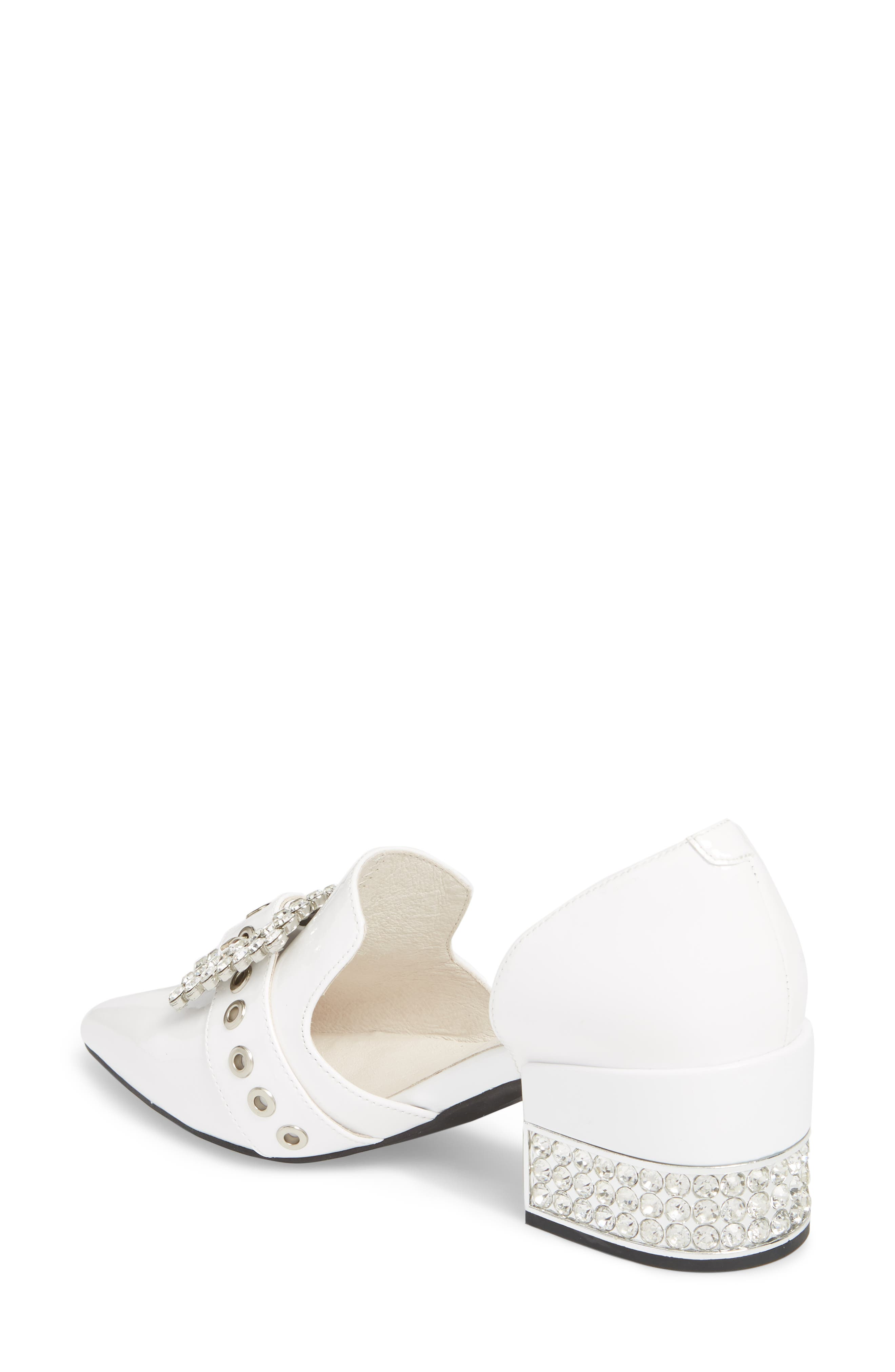 Zofia Jeweled Heel Pump,                             Alternate thumbnail 2, color,                             White Patent Silver