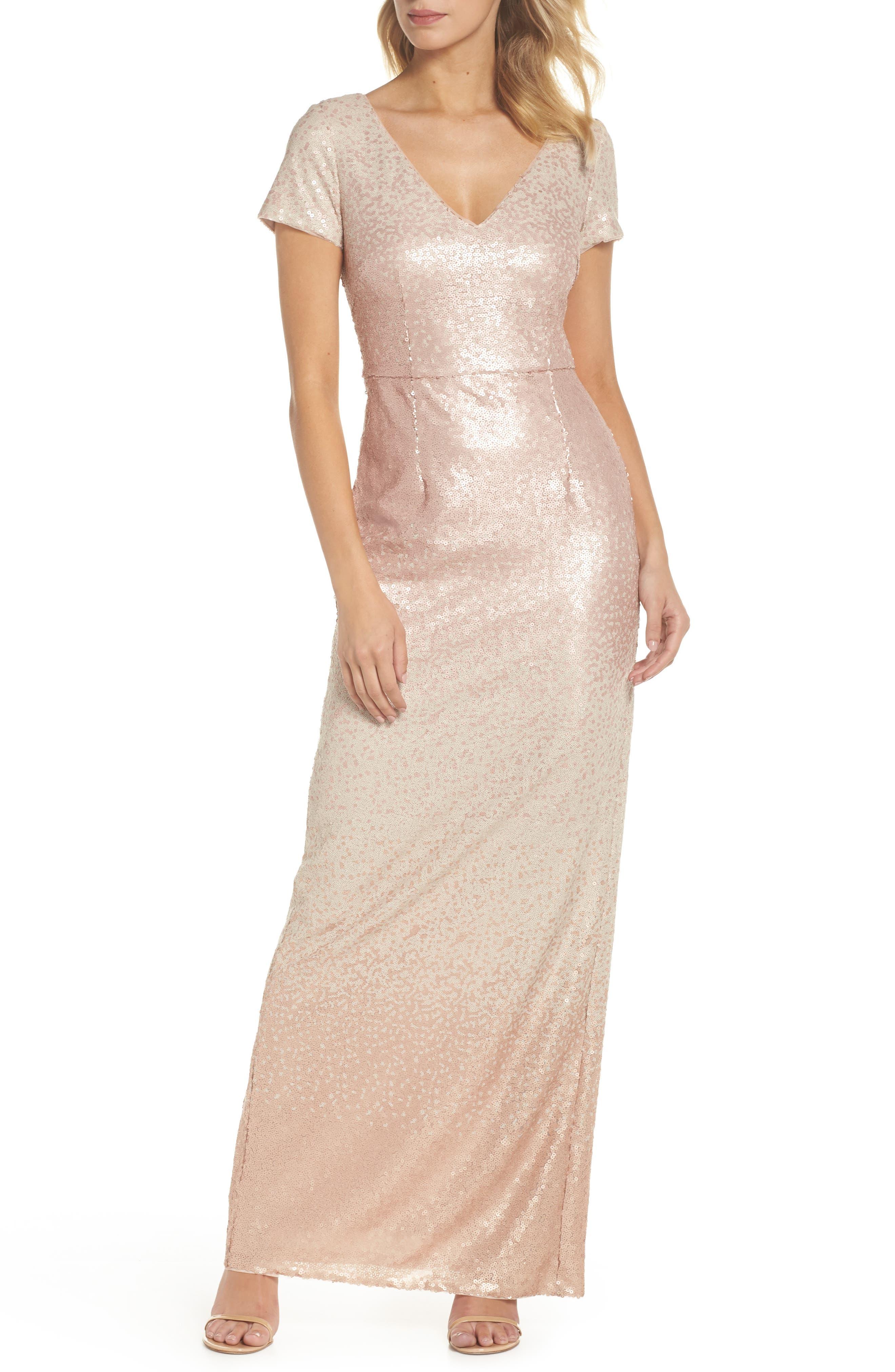 Ombré Sequin Gown,                             Main thumbnail 1, color,                             Blush Multi