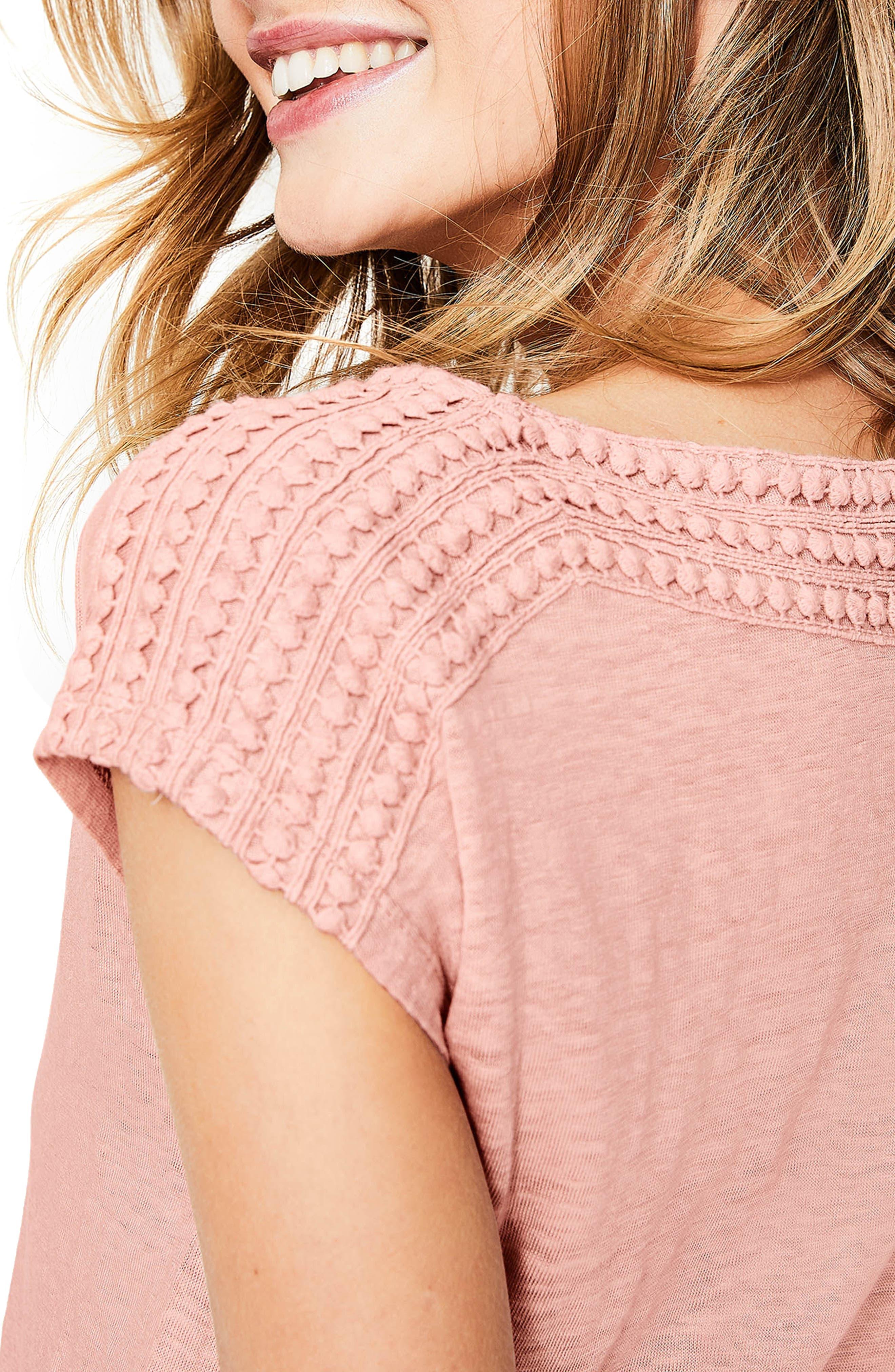 Embroidered Neck Linen Top,                             Alternate thumbnail 4, color,                             Milkshake