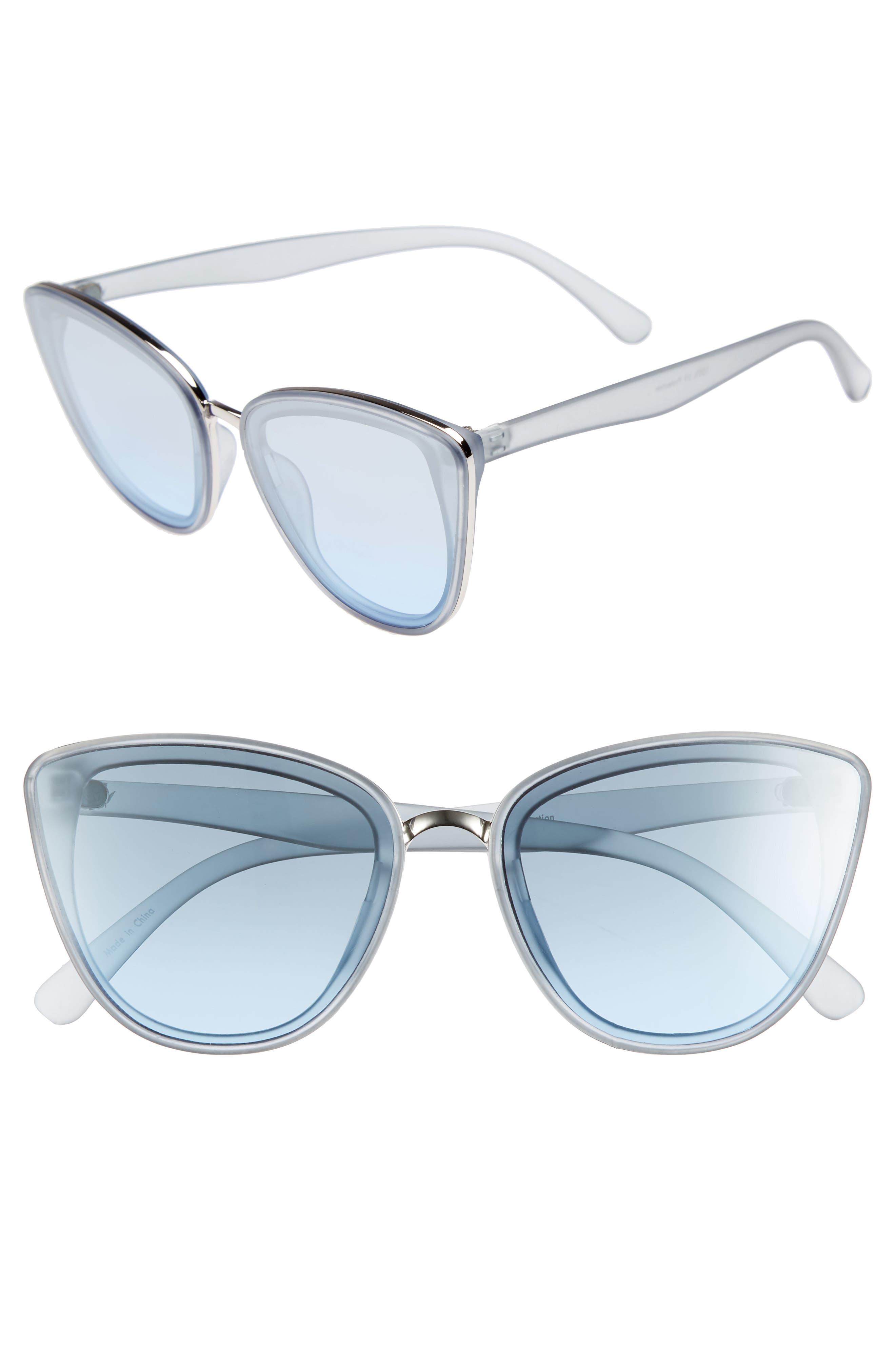 59mm Perfect Cat Eye Sunglasses,                             Main thumbnail 1, color,                             Blue/ Blue