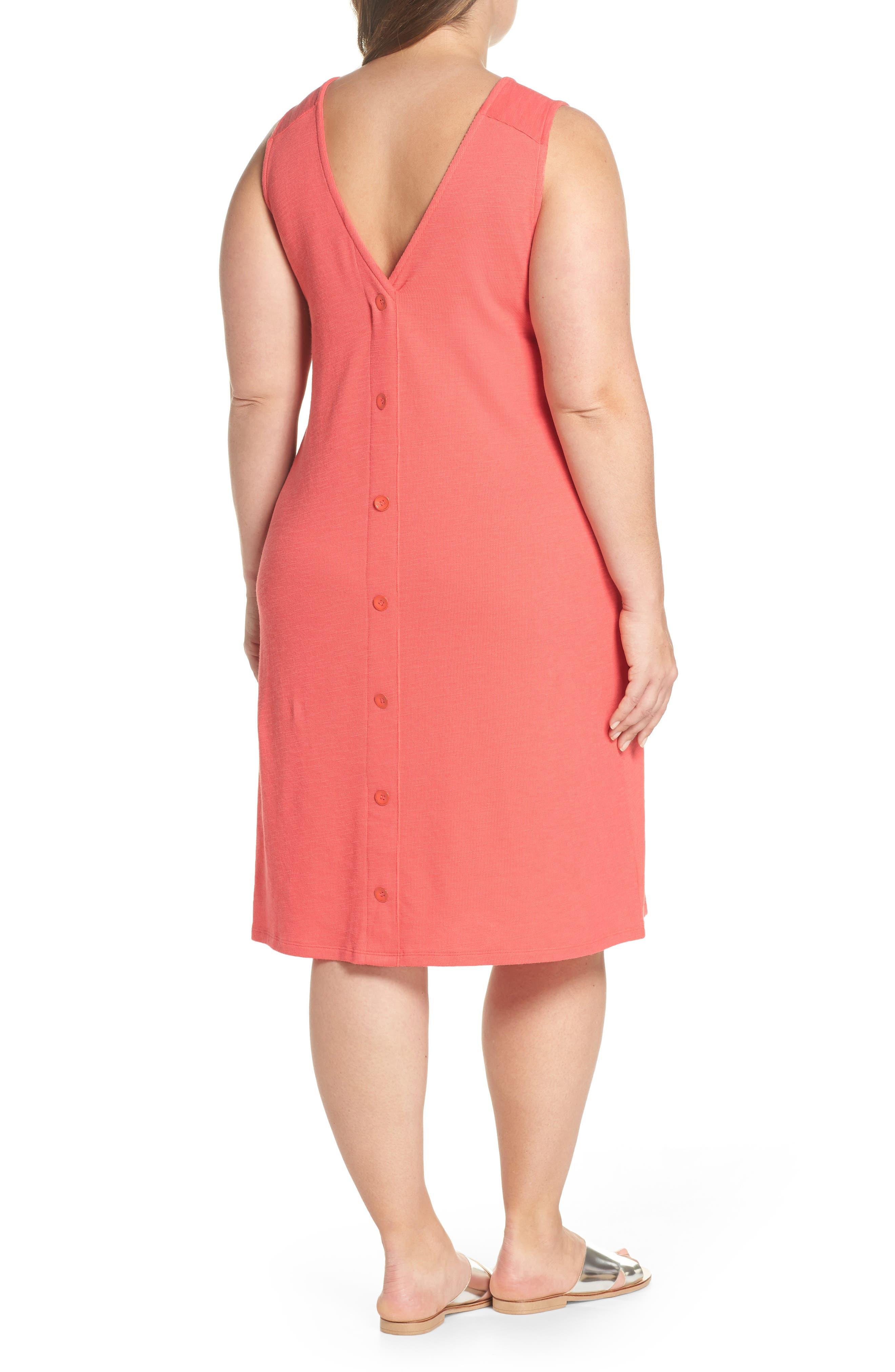 Button Back Knit Dress,                             Alternate thumbnail 2, color,                             Coral Rose