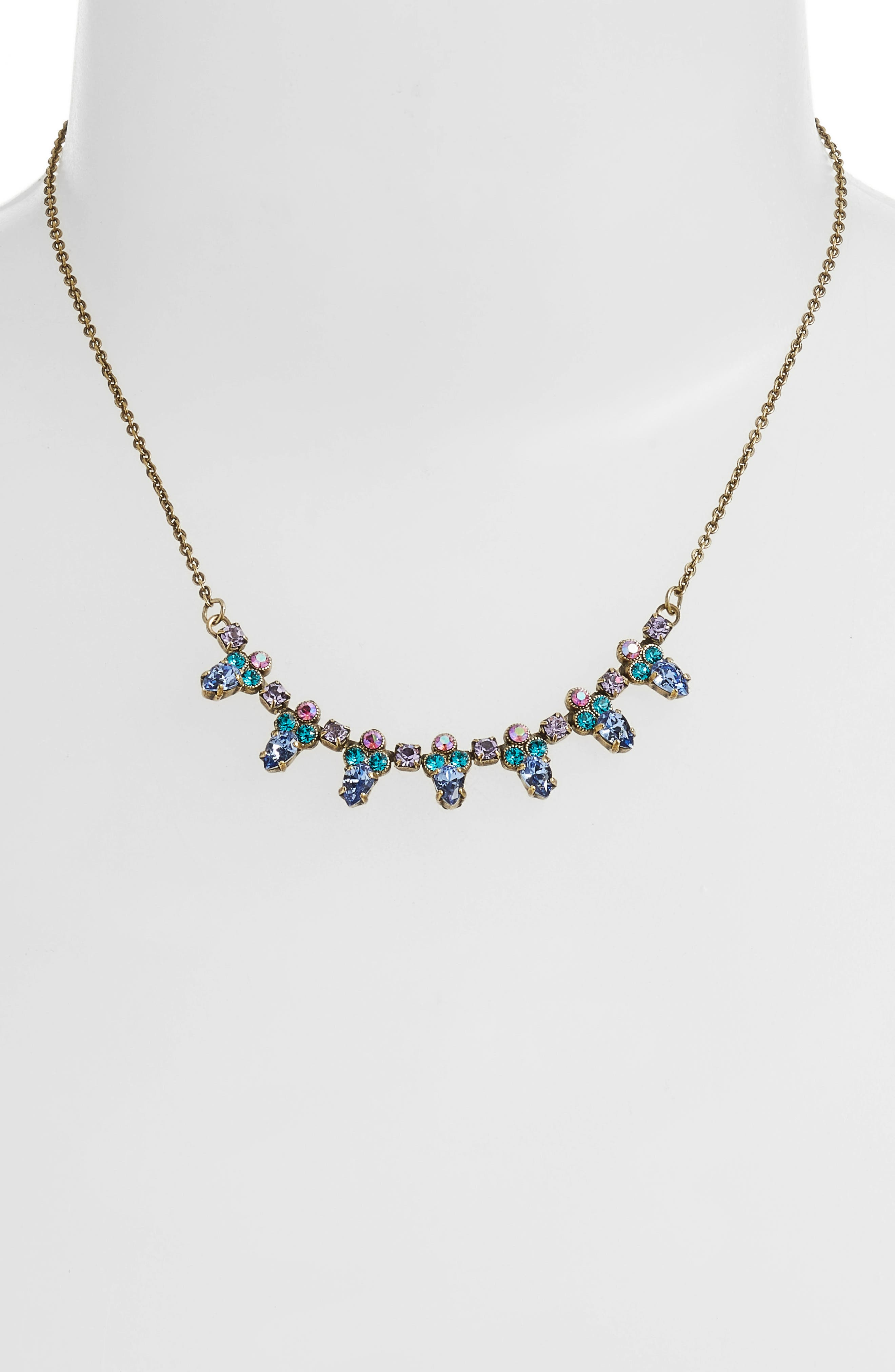 Twinkling Thistle Crystal Necklace,                             Main thumbnail 1, color,                             Gold Multi