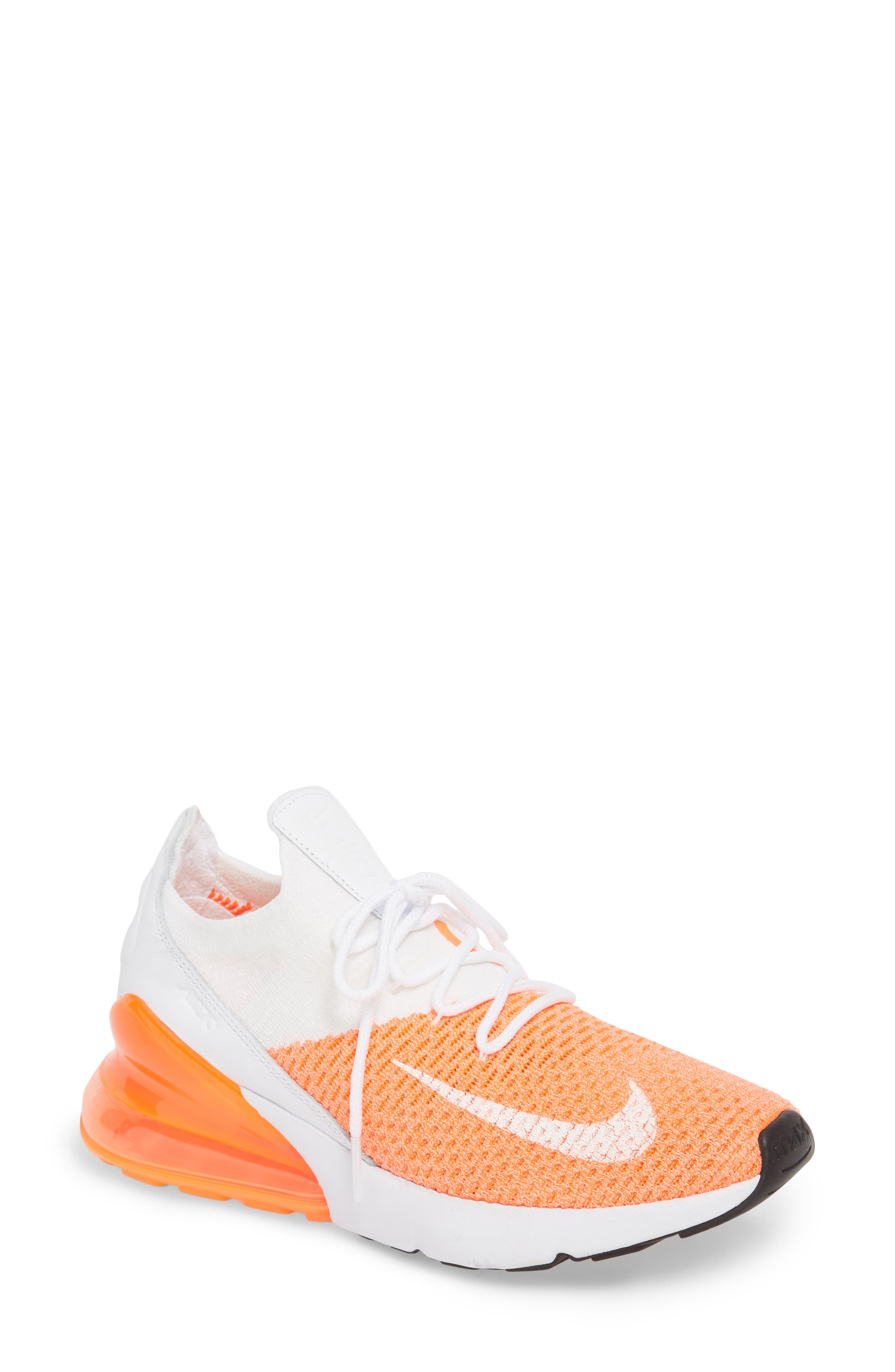 Air Max 270 Flyknit Sneaker,                             Main thumbnail 1, color,                             Crimson Pulse/ White