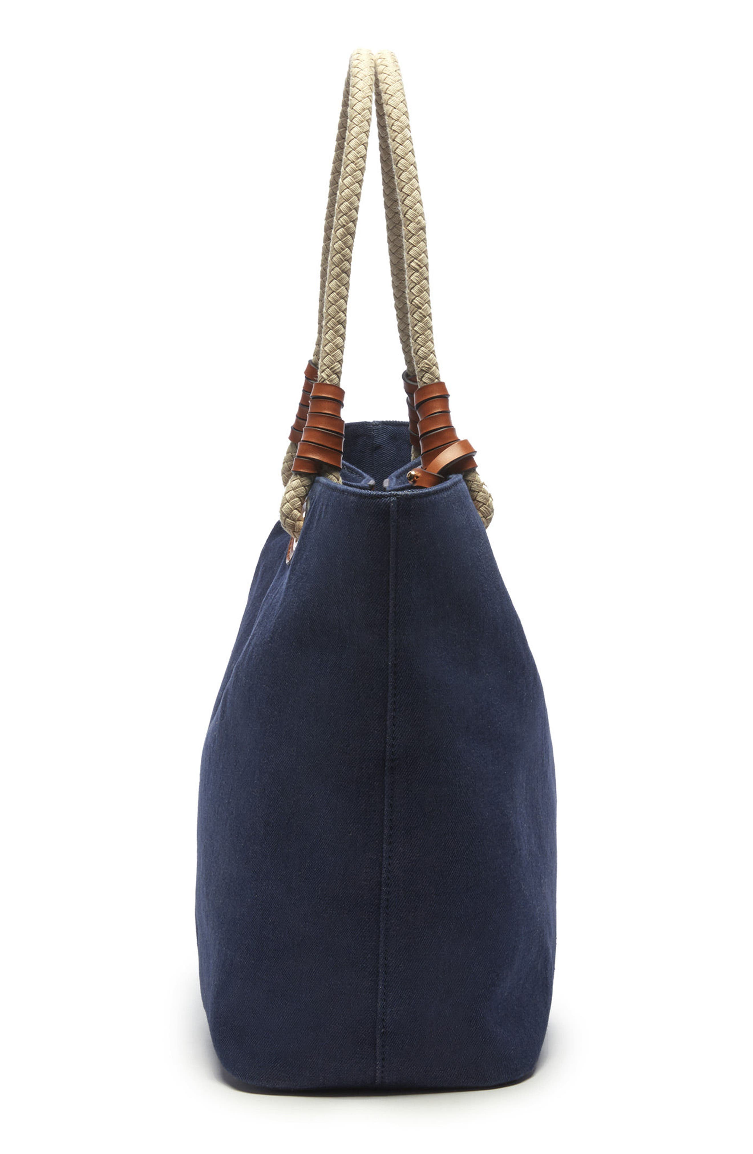 Faux Leather Oversize Tote,                             Alternate thumbnail 5, color,                             Denim