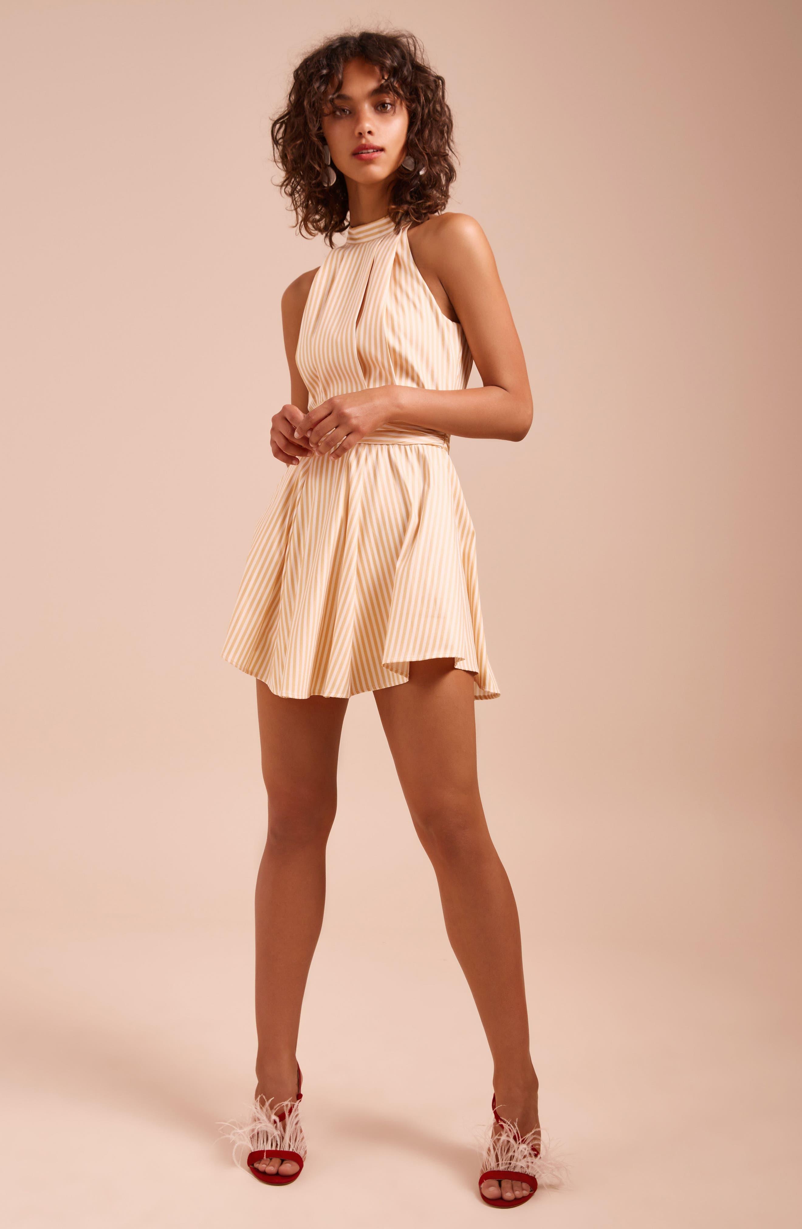Believe in Me Halter Neck Party Dress,                             Alternate thumbnail 2, color,                             Honey Stripe