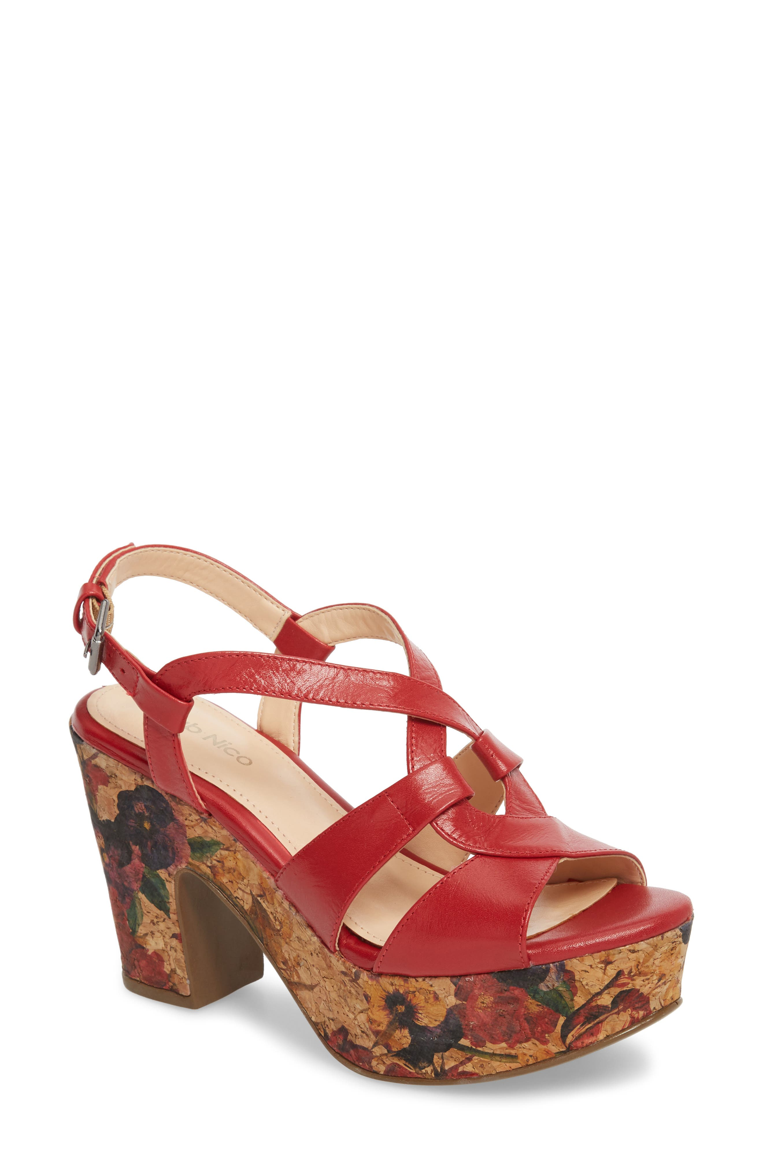 Victoria Platform Sandal,                         Main,                         color, Red Leather