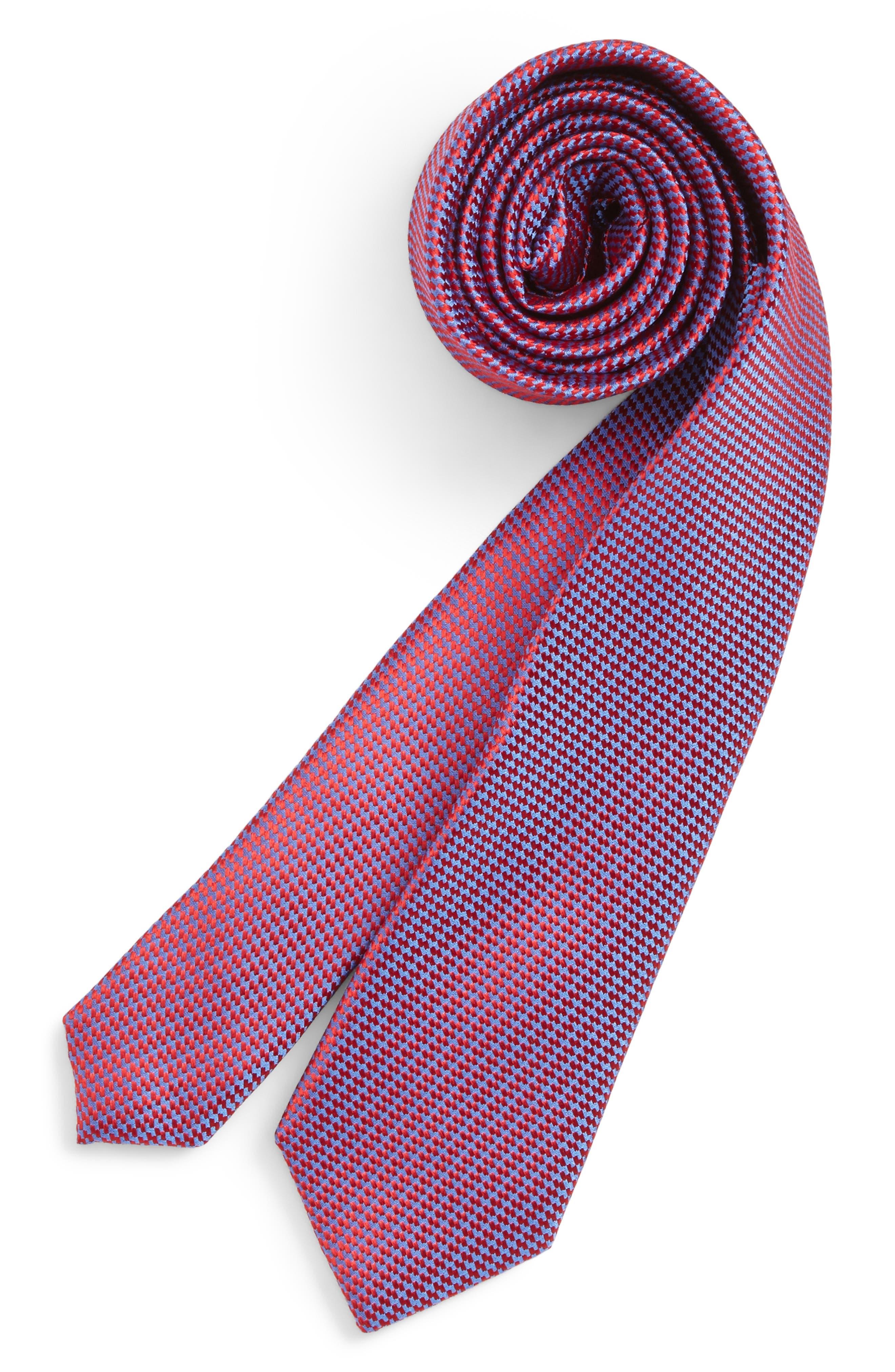 Digital Neat Silk Tie,                             Main thumbnail 1, color,                             Red