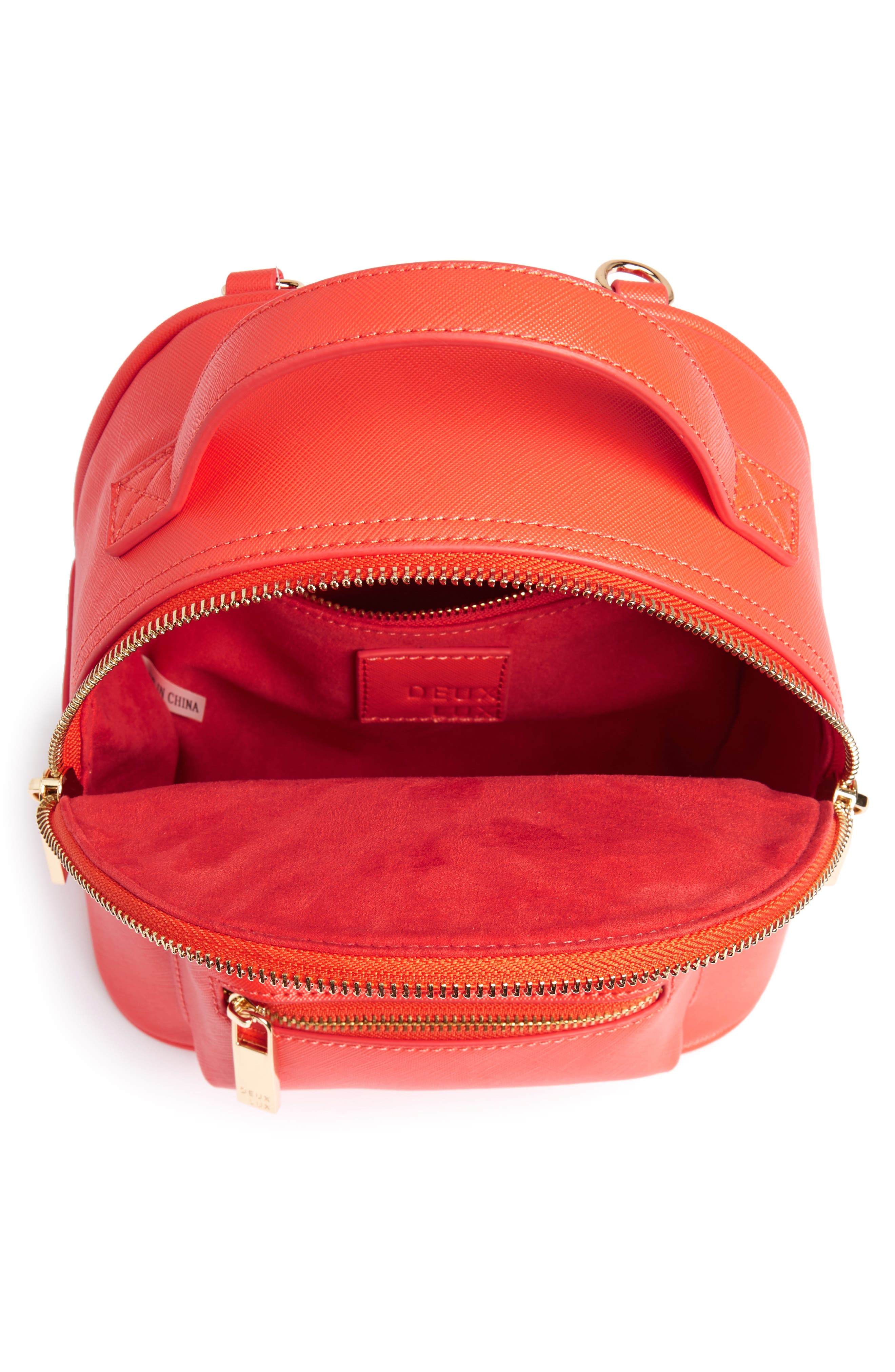 Annabelle Mini Faux Leather Backpack,                             Alternate thumbnail 4, color,                             Poppy