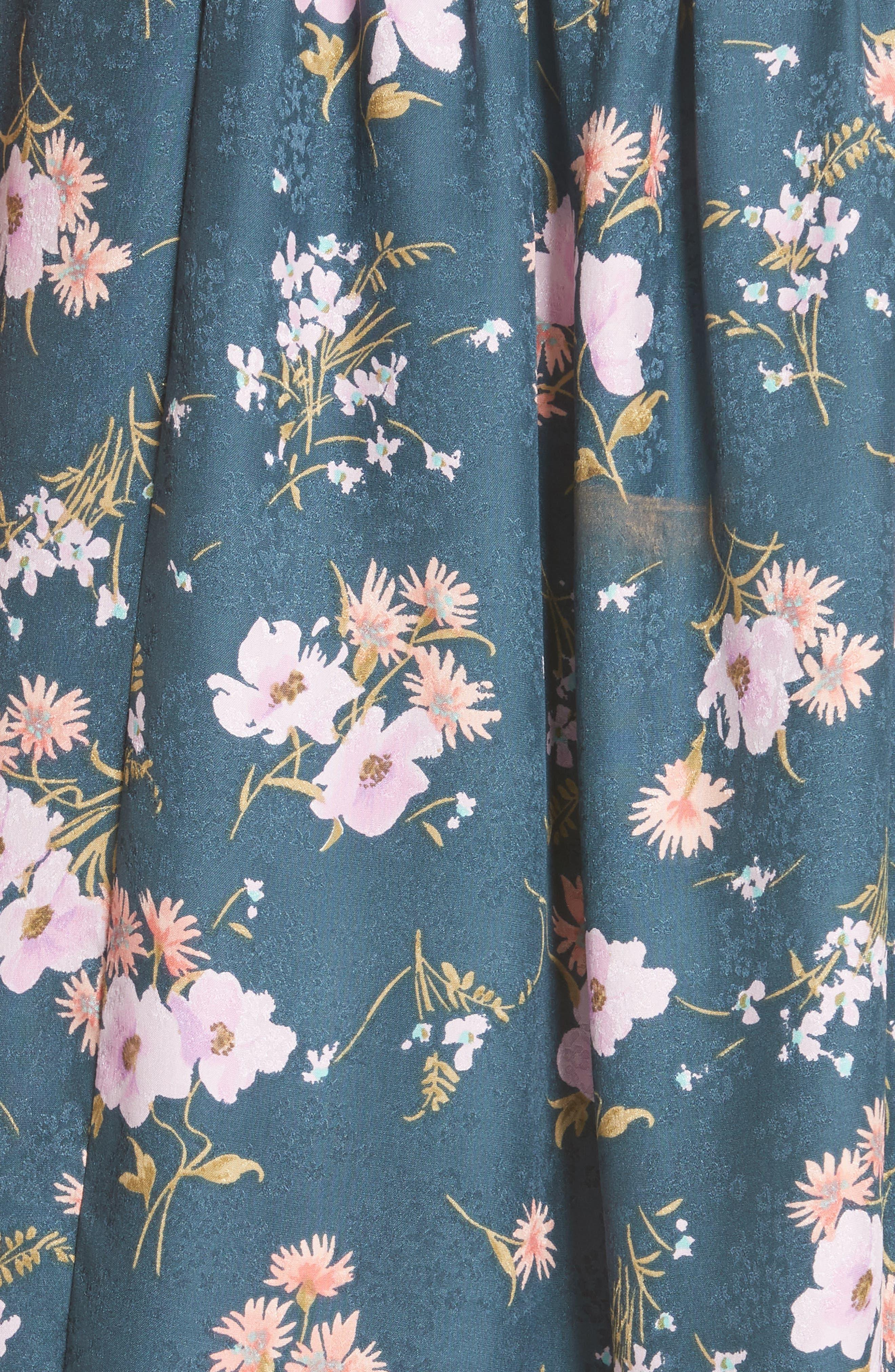 Emilia Floral Silk Jacquard Dress,                             Alternate thumbnail 3, color,                             Teal Combo