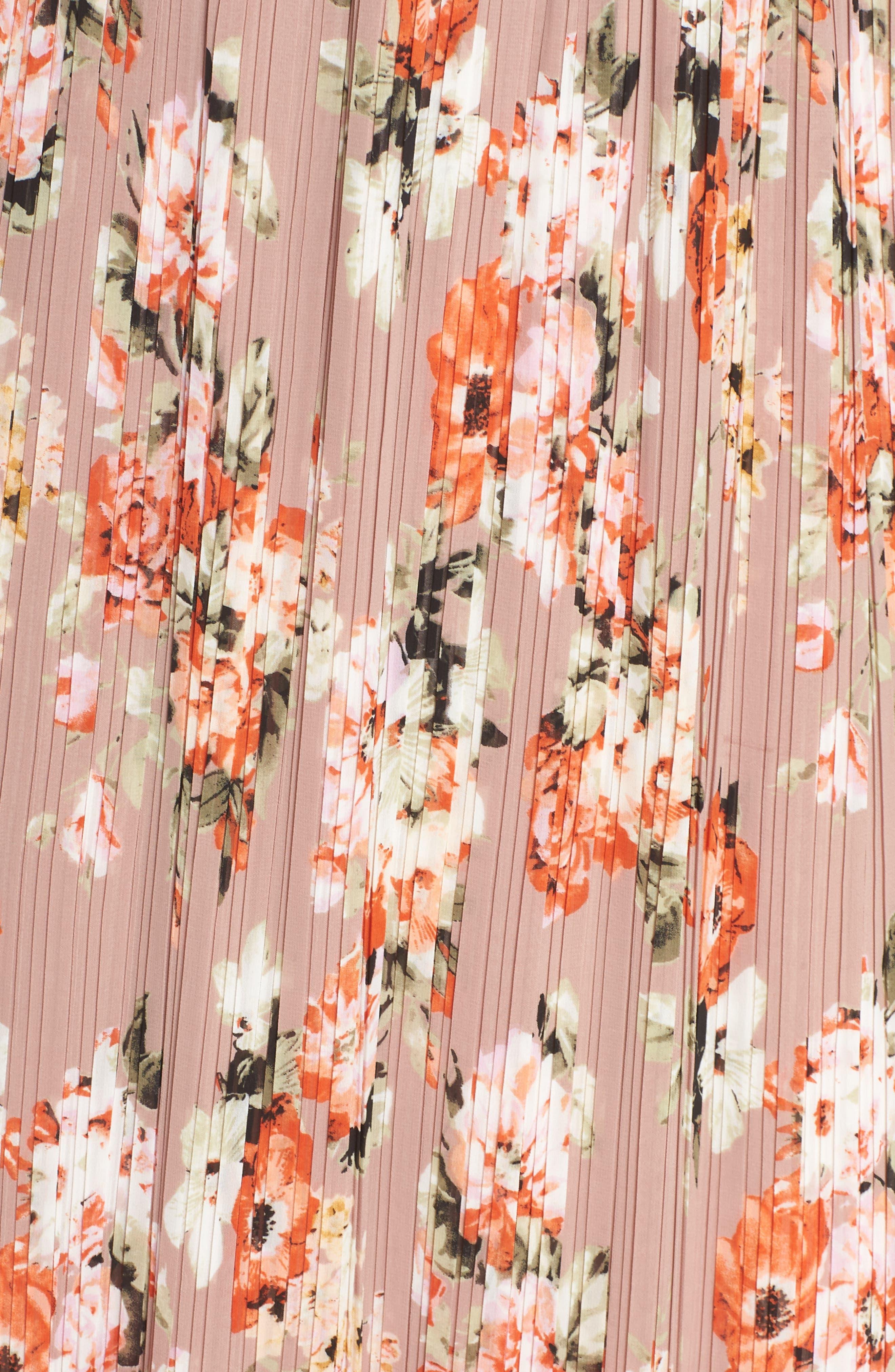 Floral Pleated Halter Dress,                             Alternate thumbnail 6, color,                             Mauve