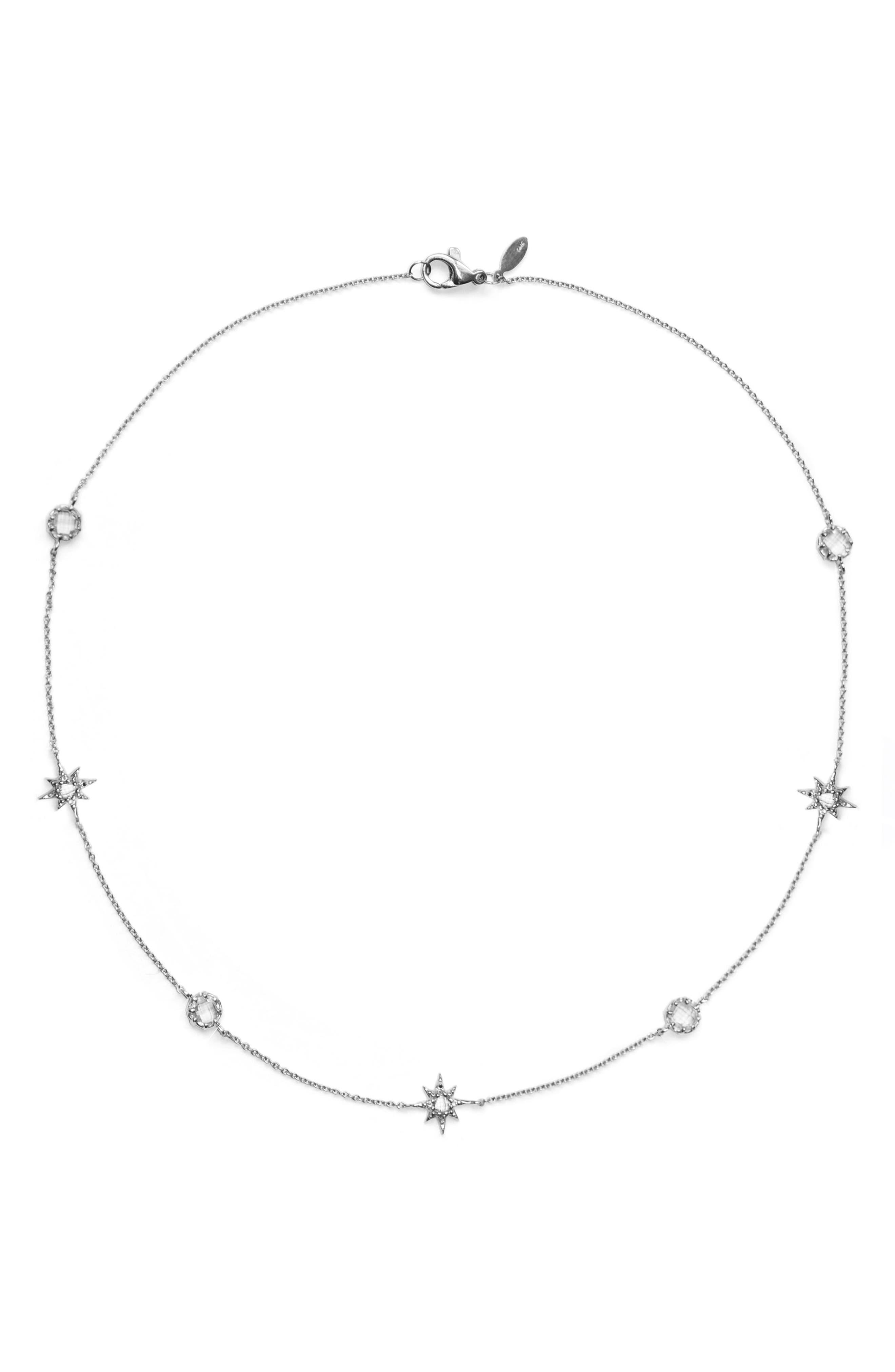 Aztec Sunburst White Topaz Charm Necklace,                         Main,                         color, Silver
