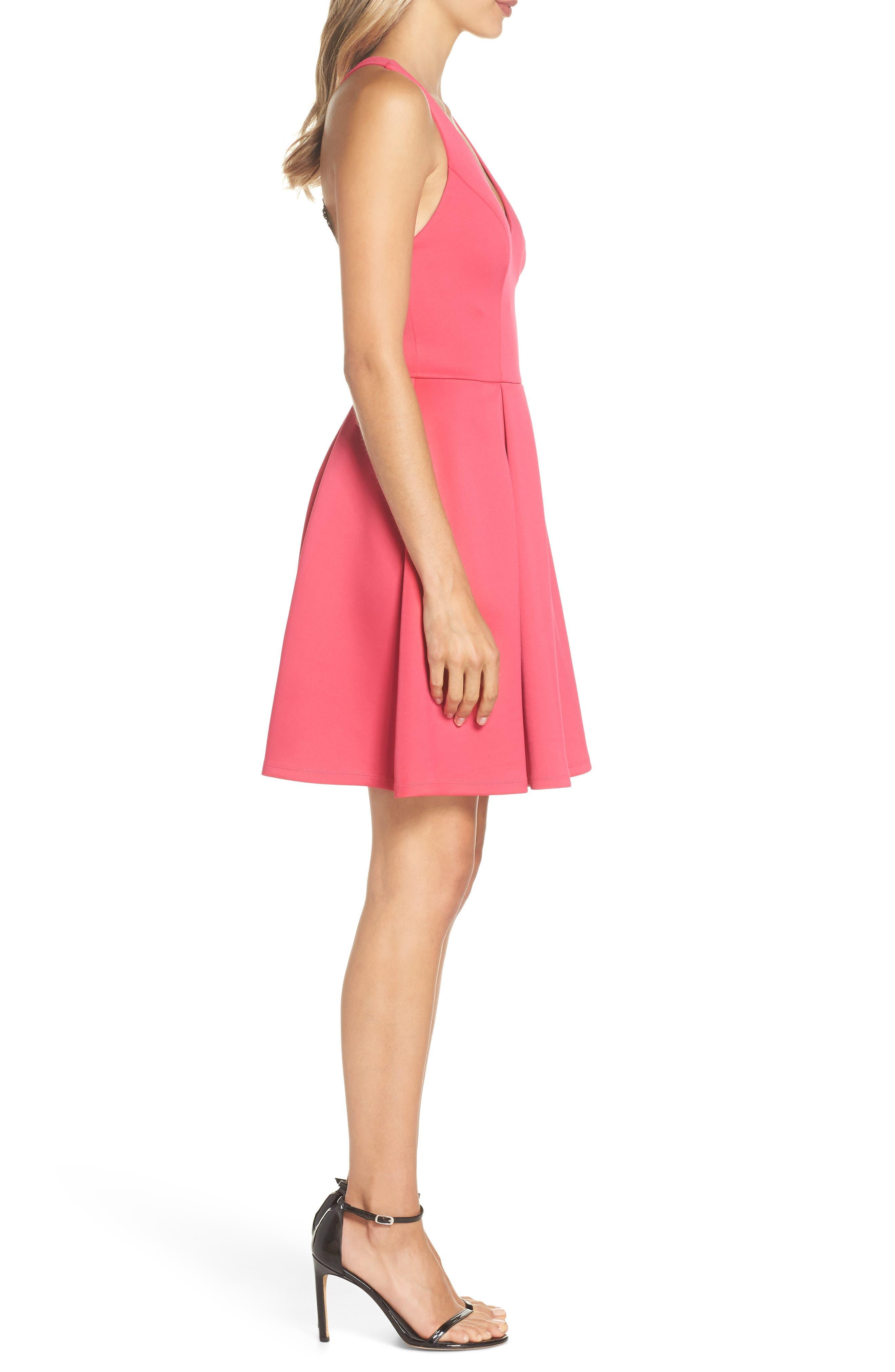 Lace Back Scuba Dress,                             Alternate thumbnail 3, color,                             Hot Pink/ Black