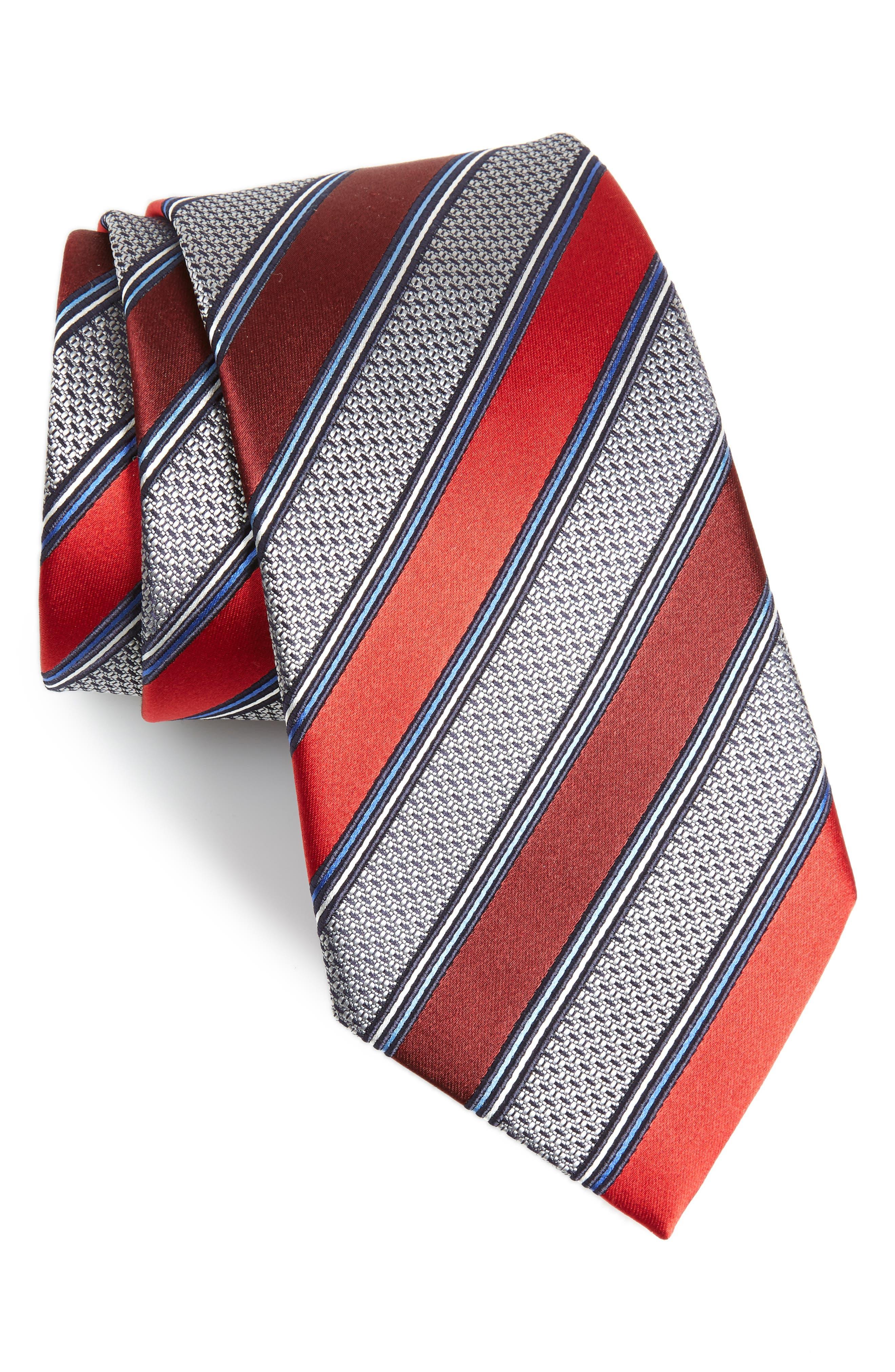 Stripe Silk & Cotton Tie,                         Main,                         color, Red