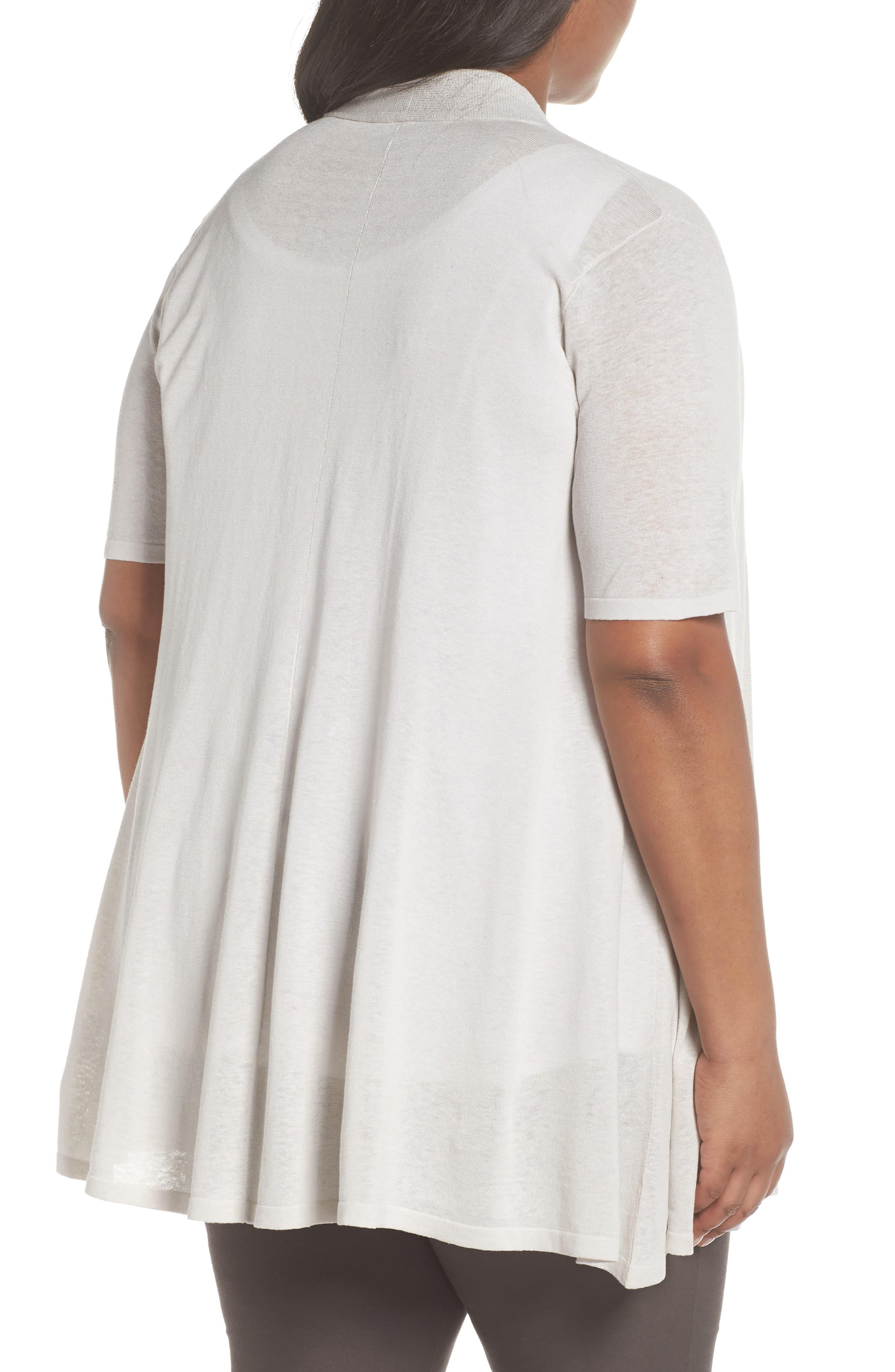 Silk & Organic Linen Long Cardigan,                             Alternate thumbnail 2, color,                             Bone