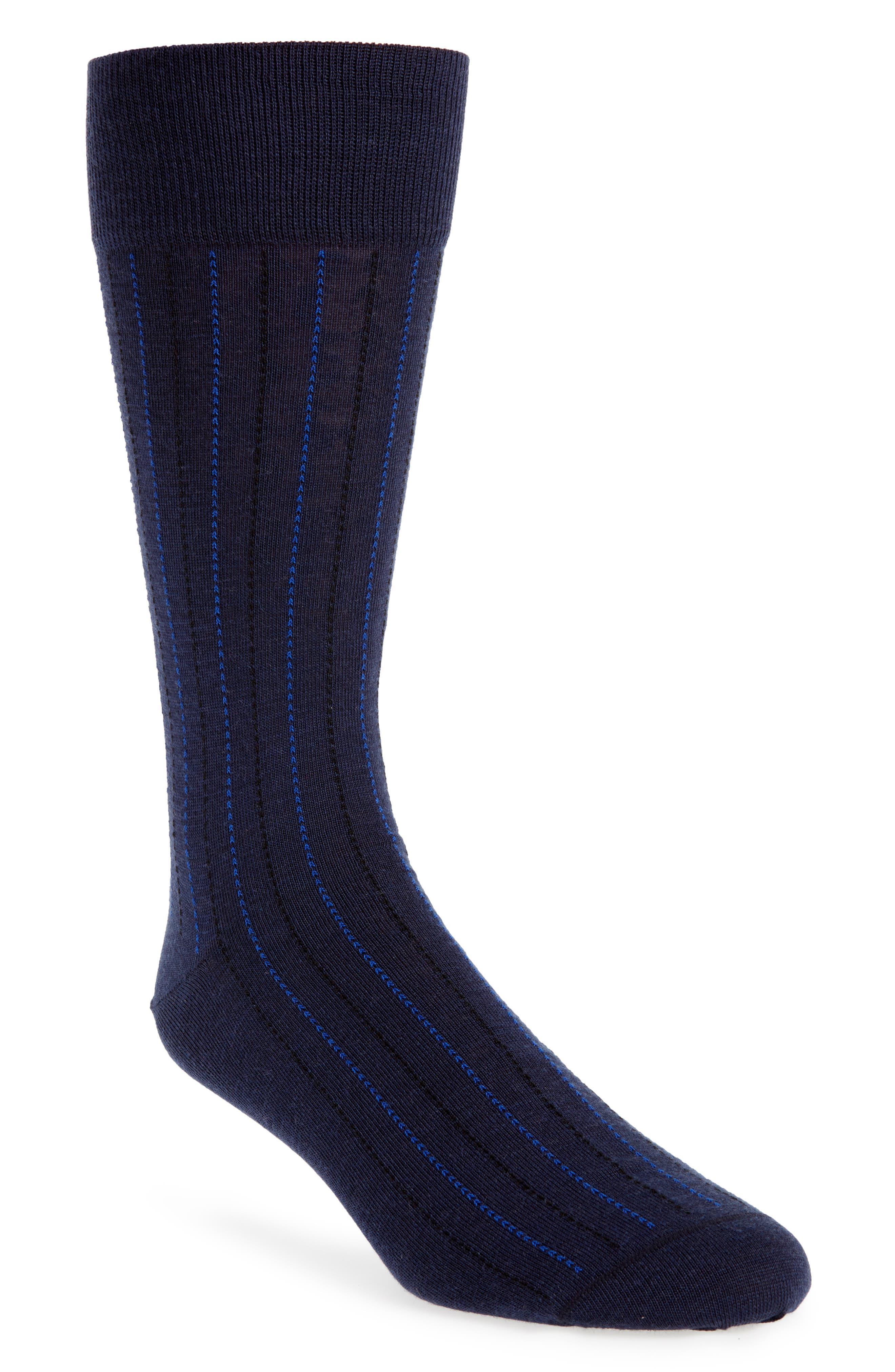 Vertical Lines Socks,                         Main,                         color, Navy