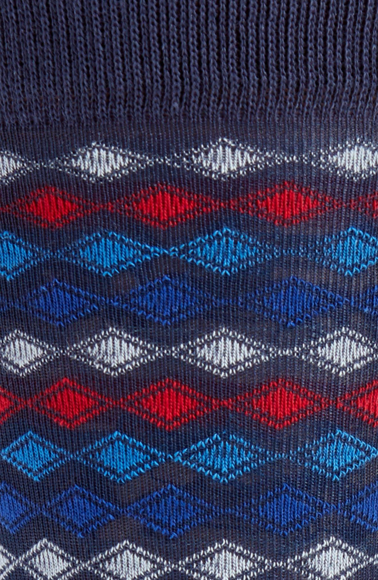 Striped Diamond Grid Socks,                             Alternate thumbnail 2, color,                             Navy/ Red