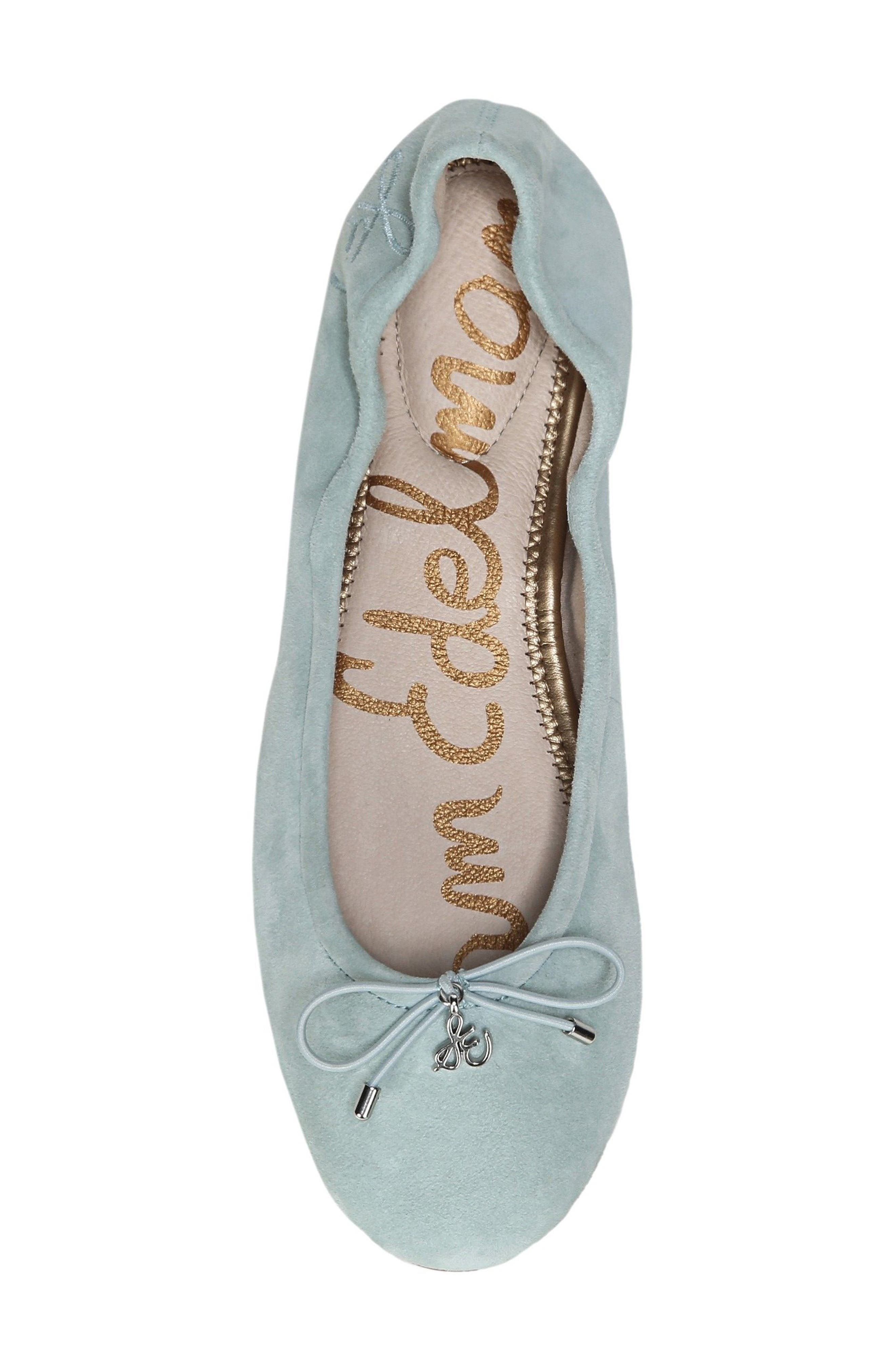 'Felicia' Flat,                             Alternate thumbnail 5, color,                             Amalfi Blue Suede