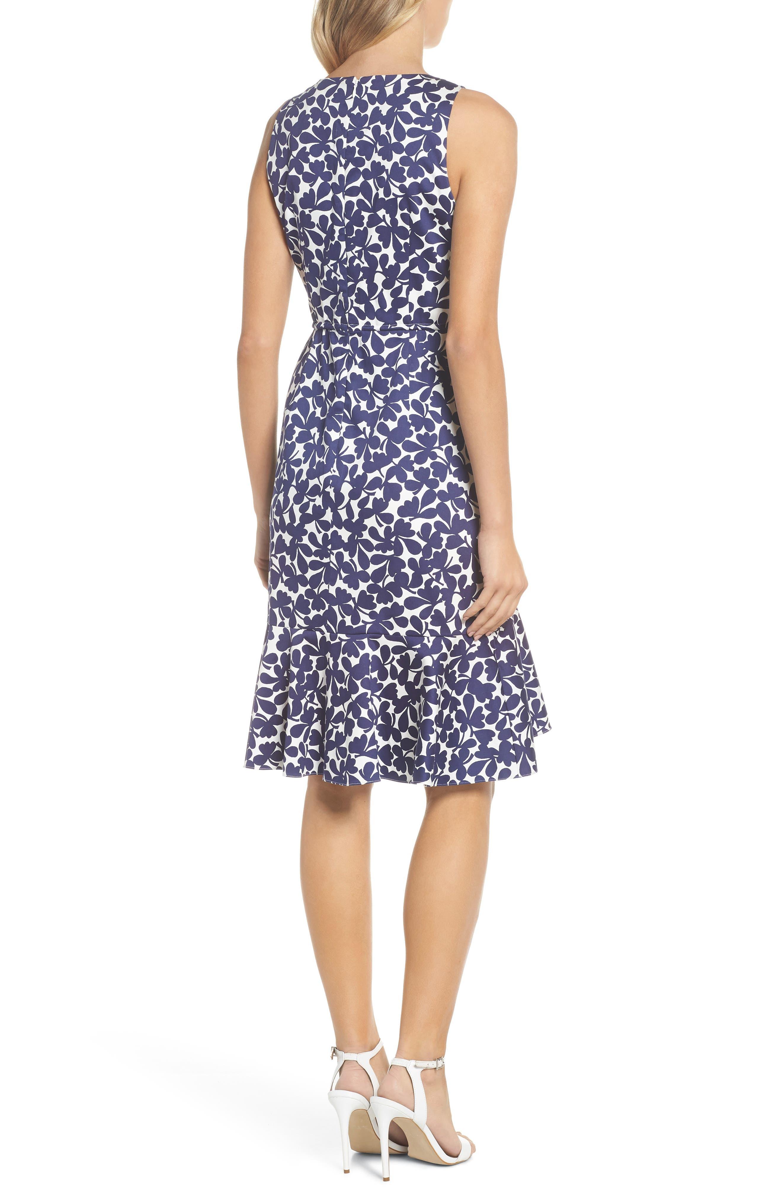 Lady Luck Print Cotton Sateen Dress,                             Alternate thumbnail 2, color,                             Navy/ Ivory