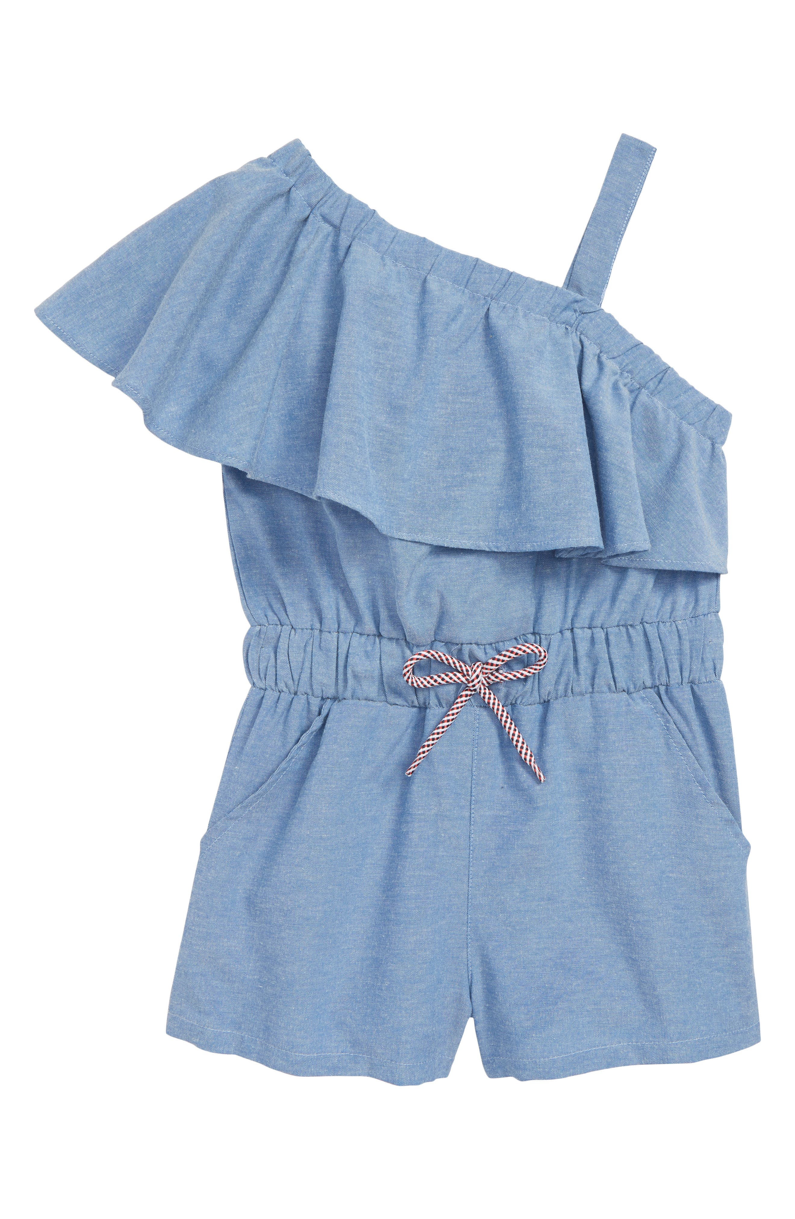 Ruffle One Shoulder Romper,                         Main,                         color, Chambray