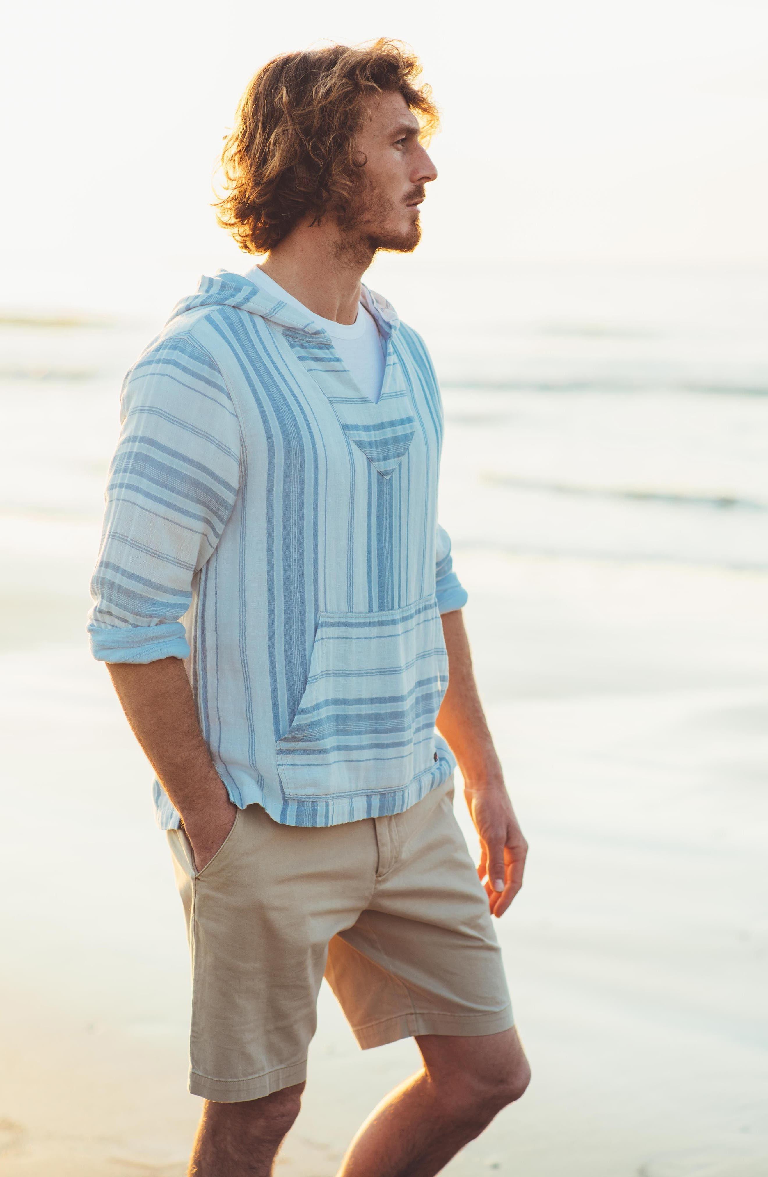 Baja Double Cloth Poncho,                             Alternate thumbnail 7, color,                             Light Indigo Serape