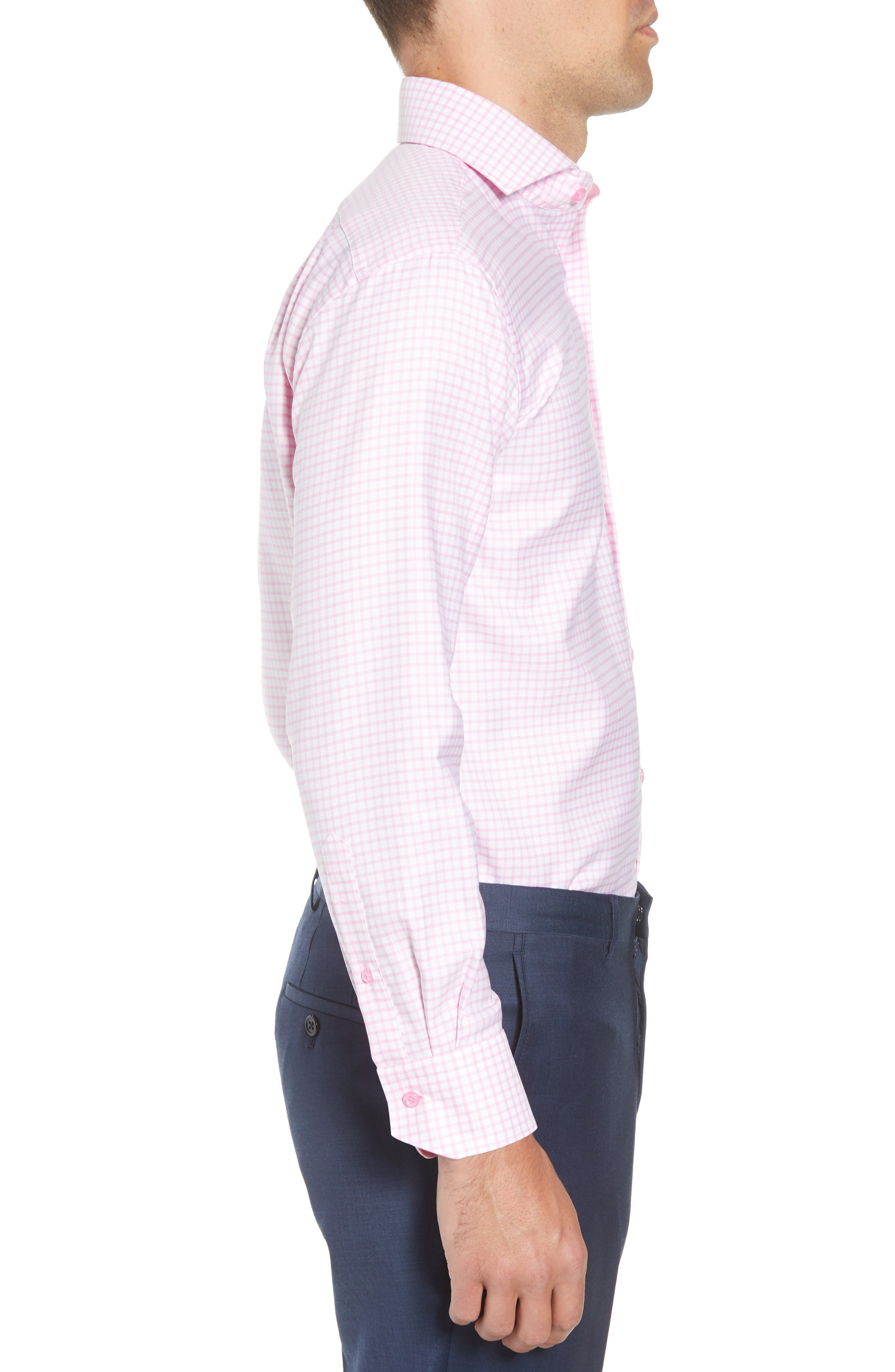 Trim Fit Check Dress Shirt,                             Alternate thumbnail 4, color,                             Pink/ White