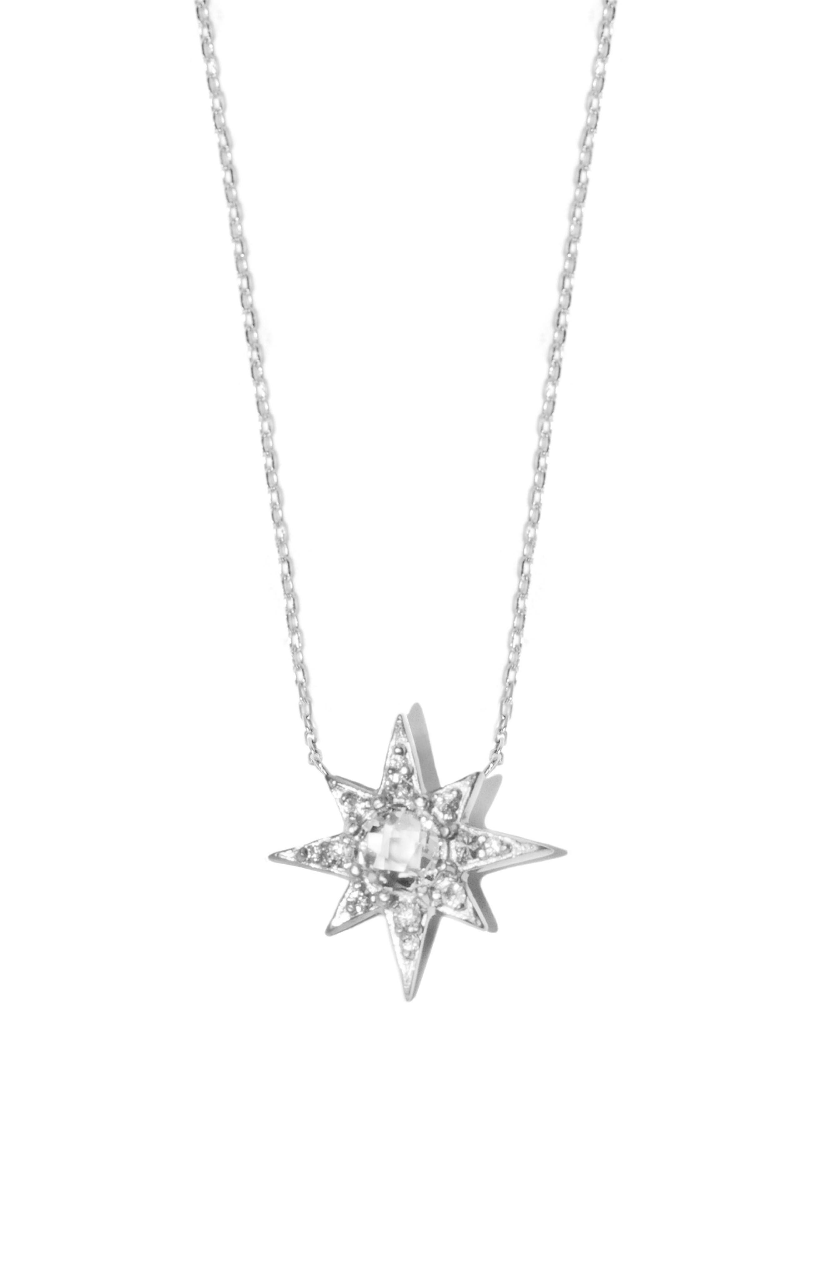 Aztec Sunburst White Topaz Sapphire Pendant Necklace,                         Main,                         color, Silver