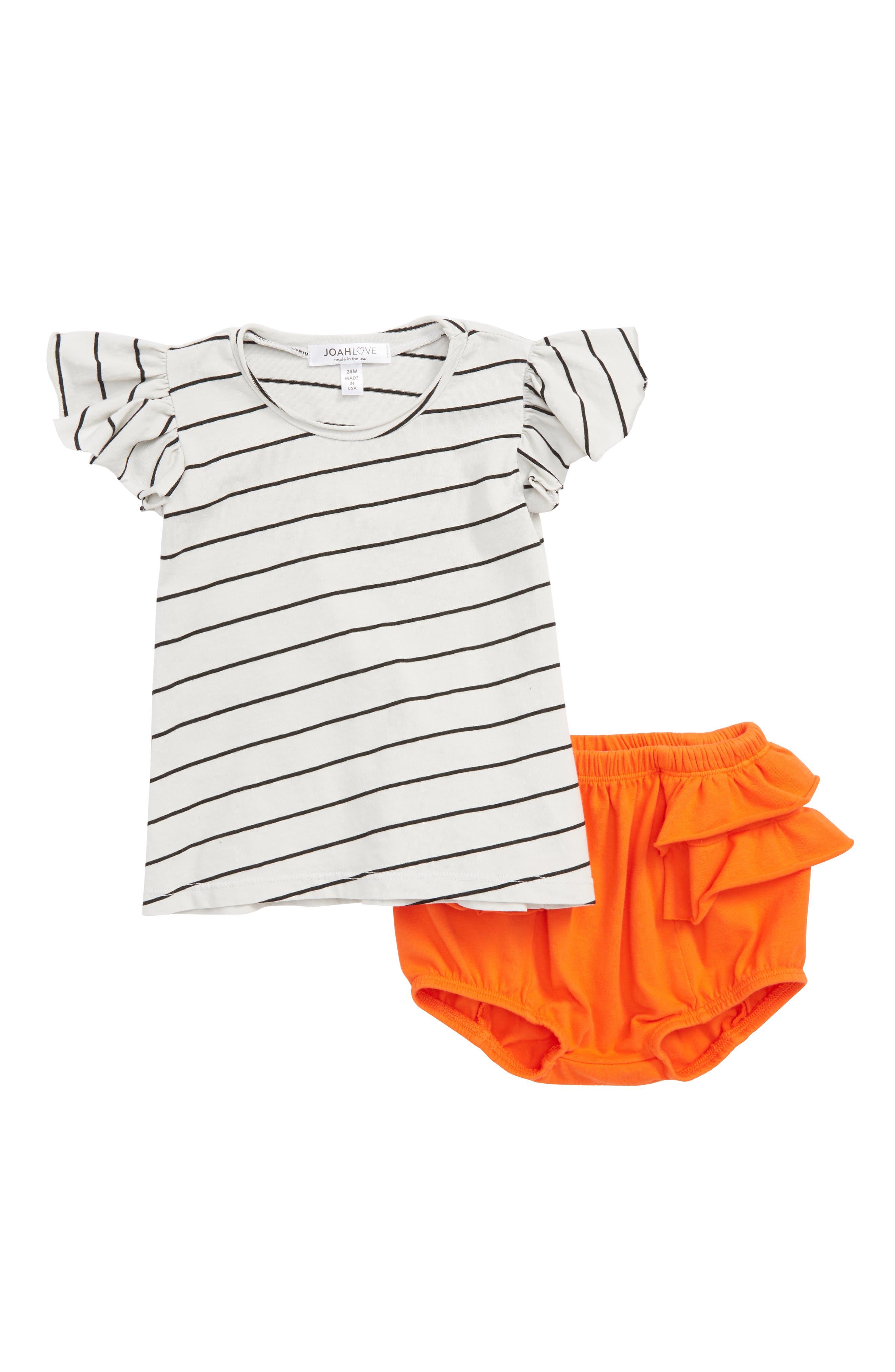 Joah Love Flutter Sleeve Tee & Ruffle Bloomers Set (Baby Girls)
