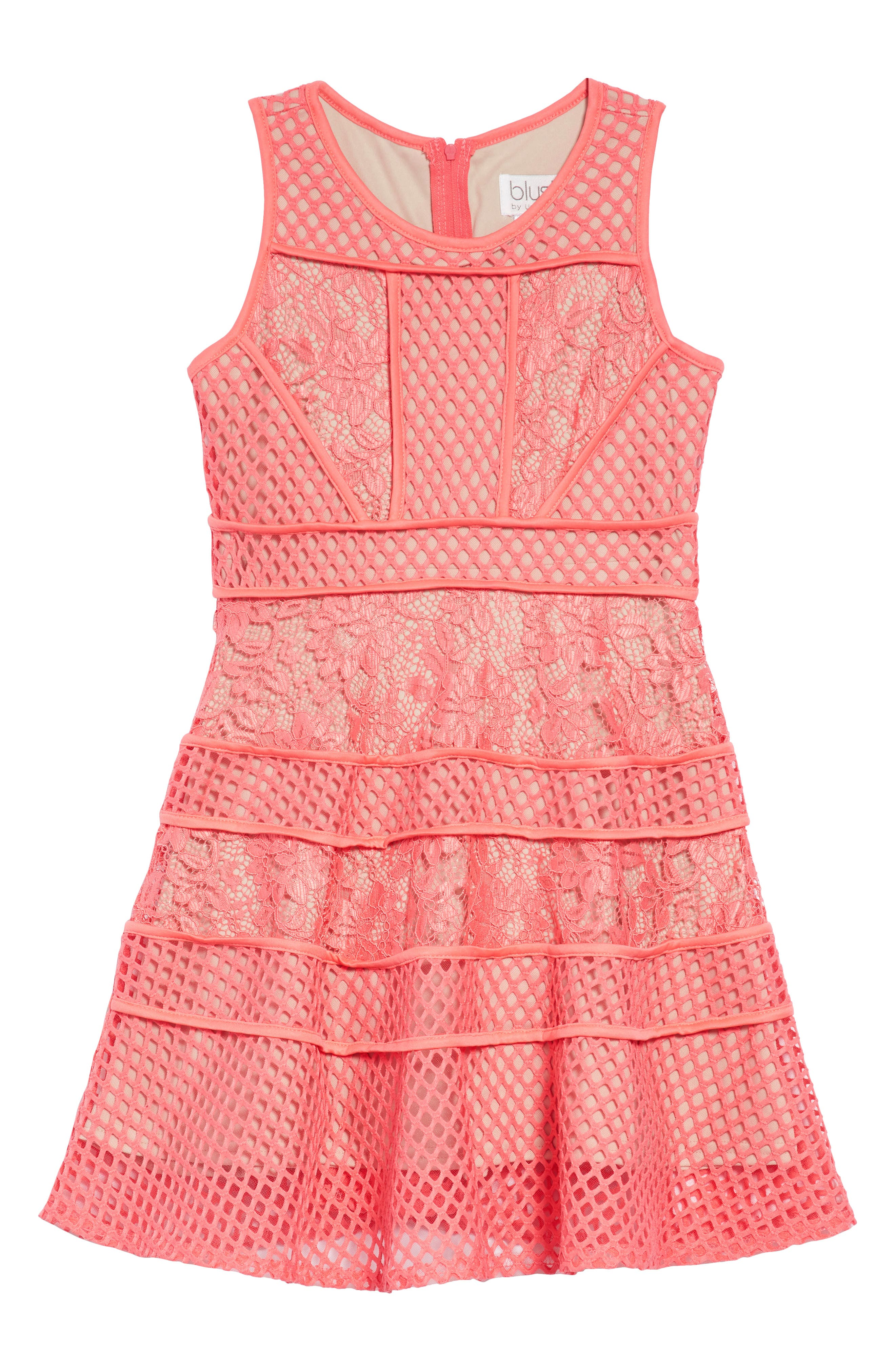 Lace & Mesh Tiered Dress,                         Main,                         color, Coral
