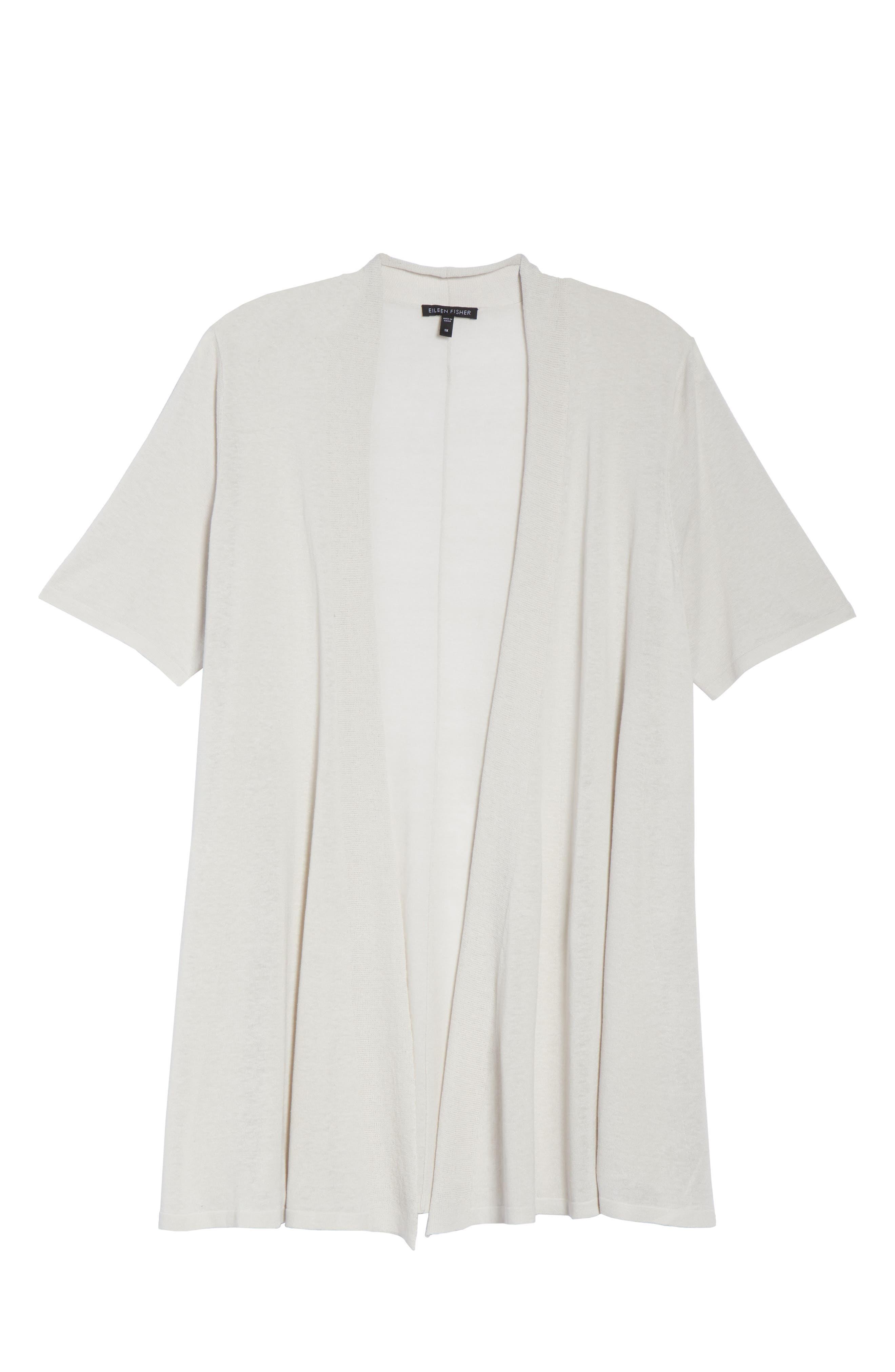 Silk & Organic Linen Long Cardigan,                             Alternate thumbnail 6, color,                             Bone