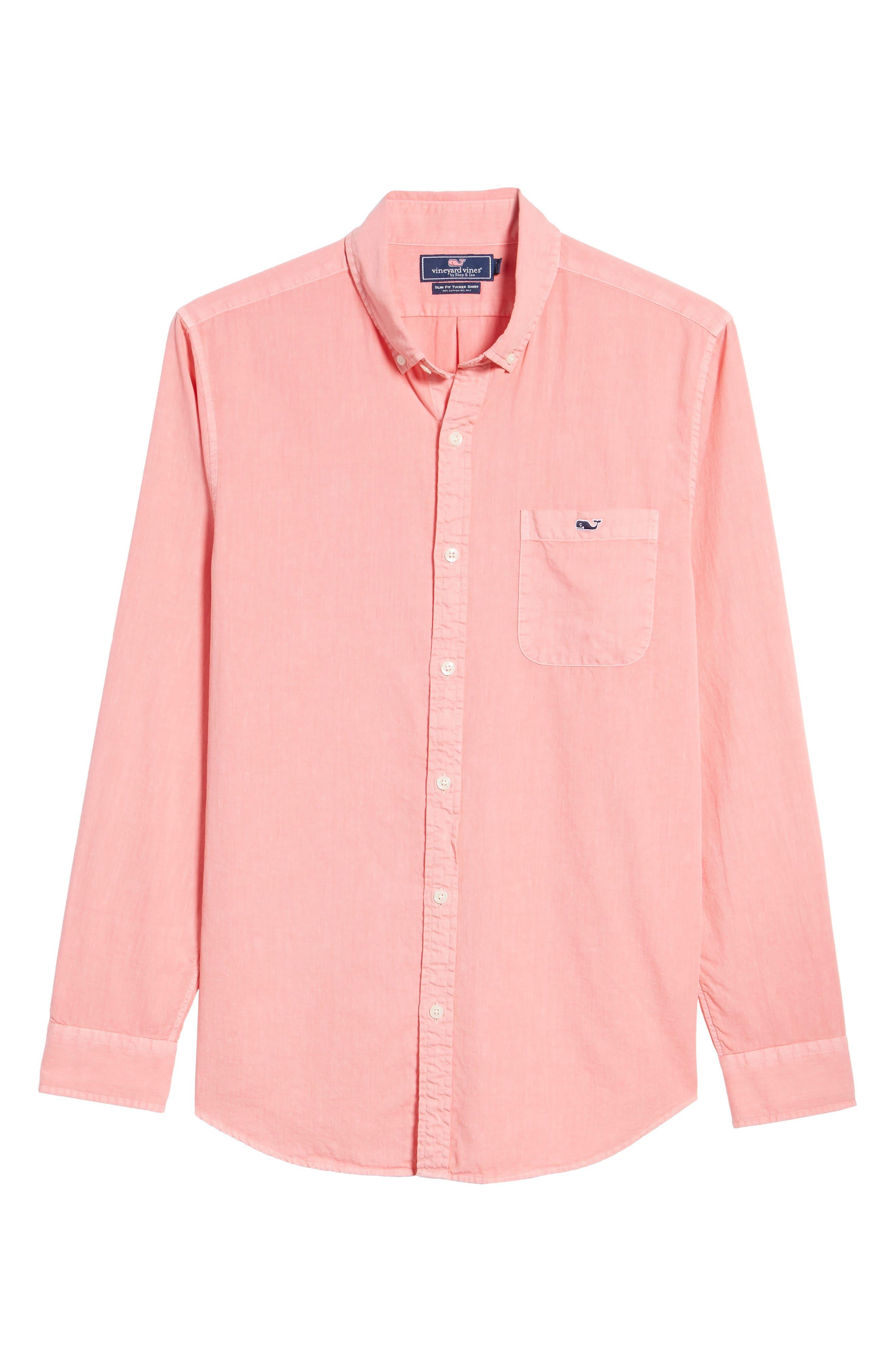 Tucker Slim Fit Solid Cotton & Silk Sport Shirt,                             Alternate thumbnail 6, color,                             Strawberry Blonde
