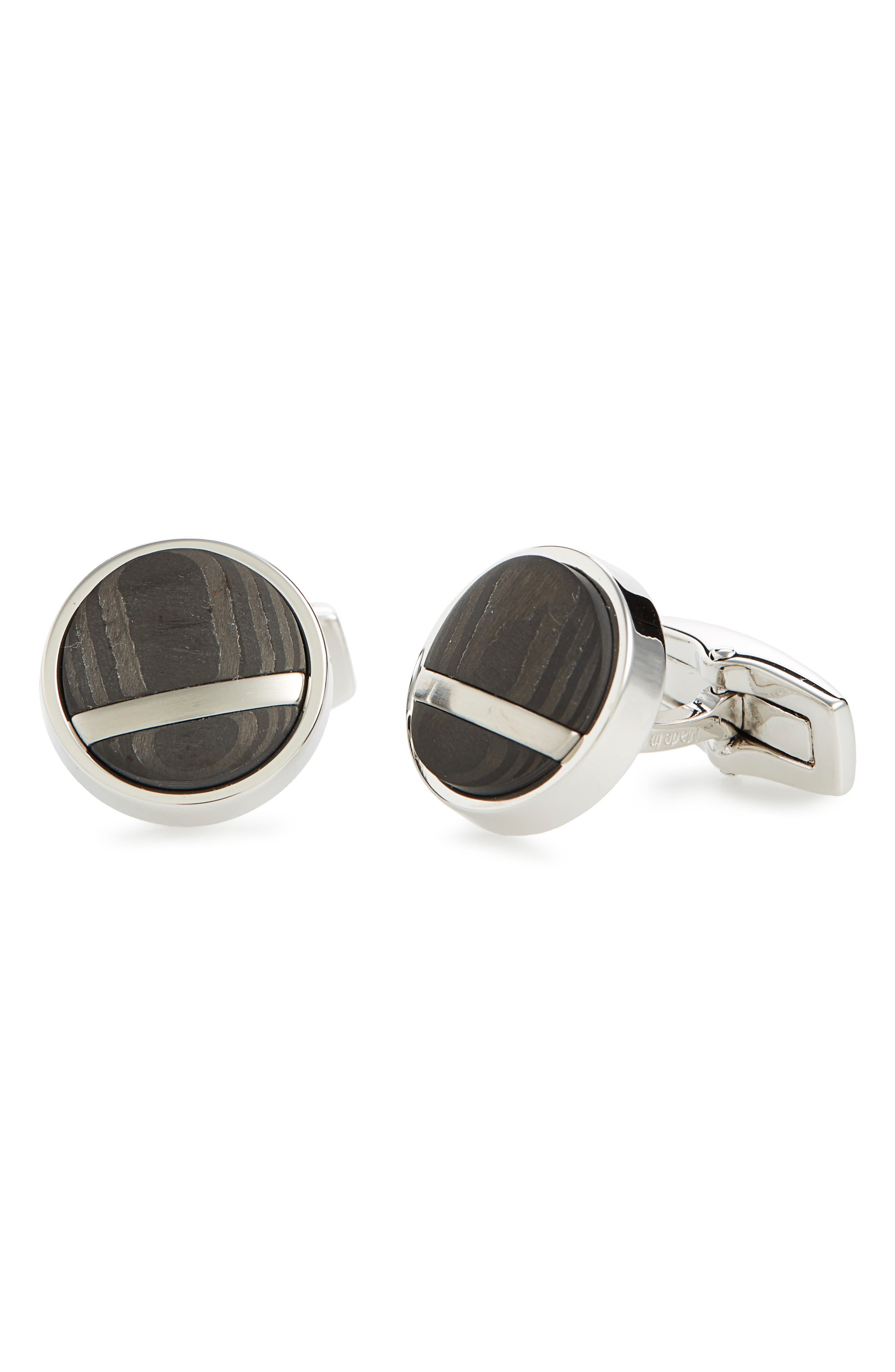 T-Ralph Round Cuff Links,                         Main,                         color, Grey