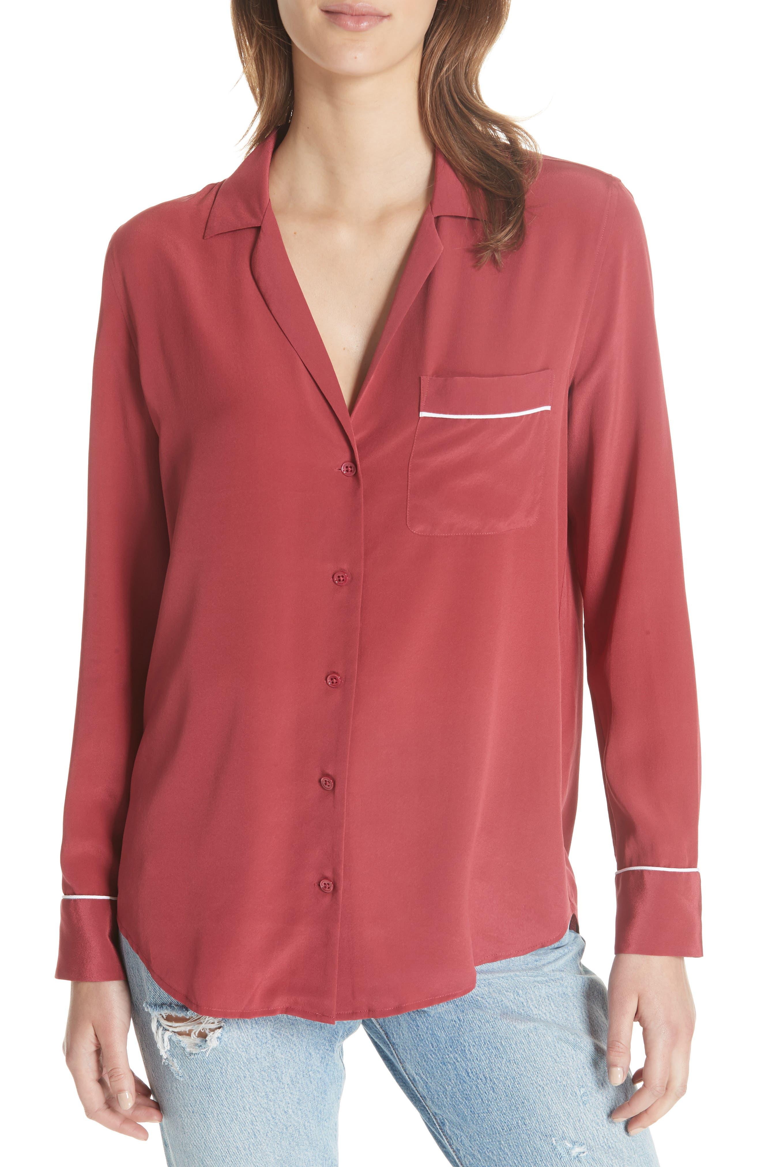 Keira Piped Silk Shirt,                         Main,                         color, Pinot Noir