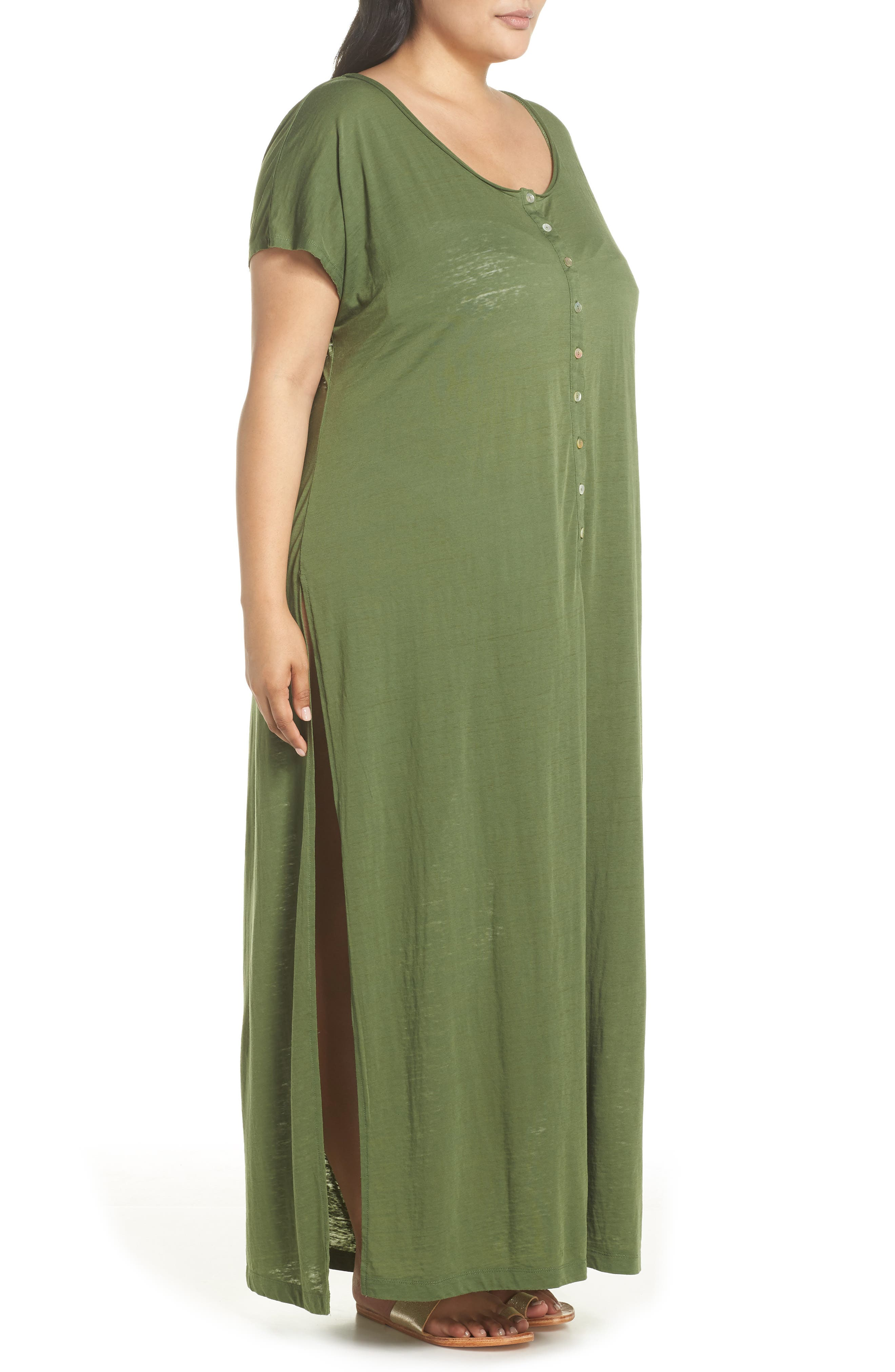 Henley Cover-Up Dress,                             Alternate thumbnail 5, color,                             Green Bronze