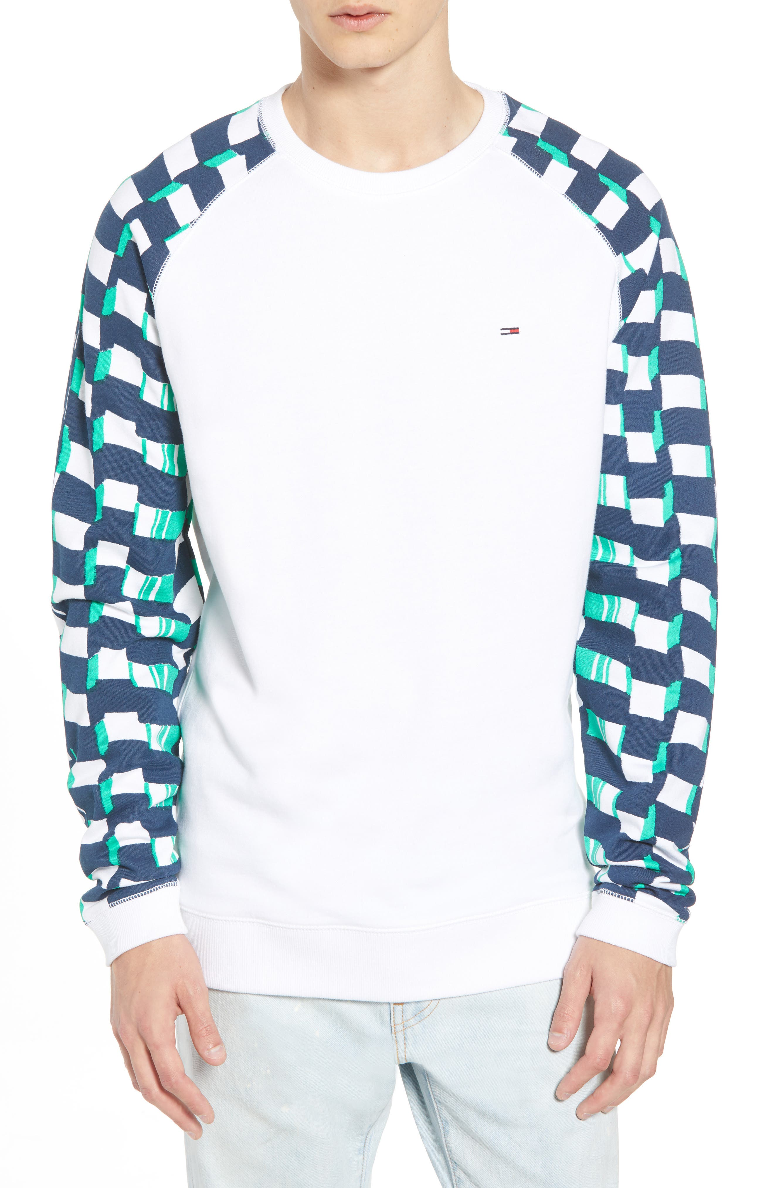 Racing Logo Sweatshirt,                         Main,                         color, Classic White / Checker