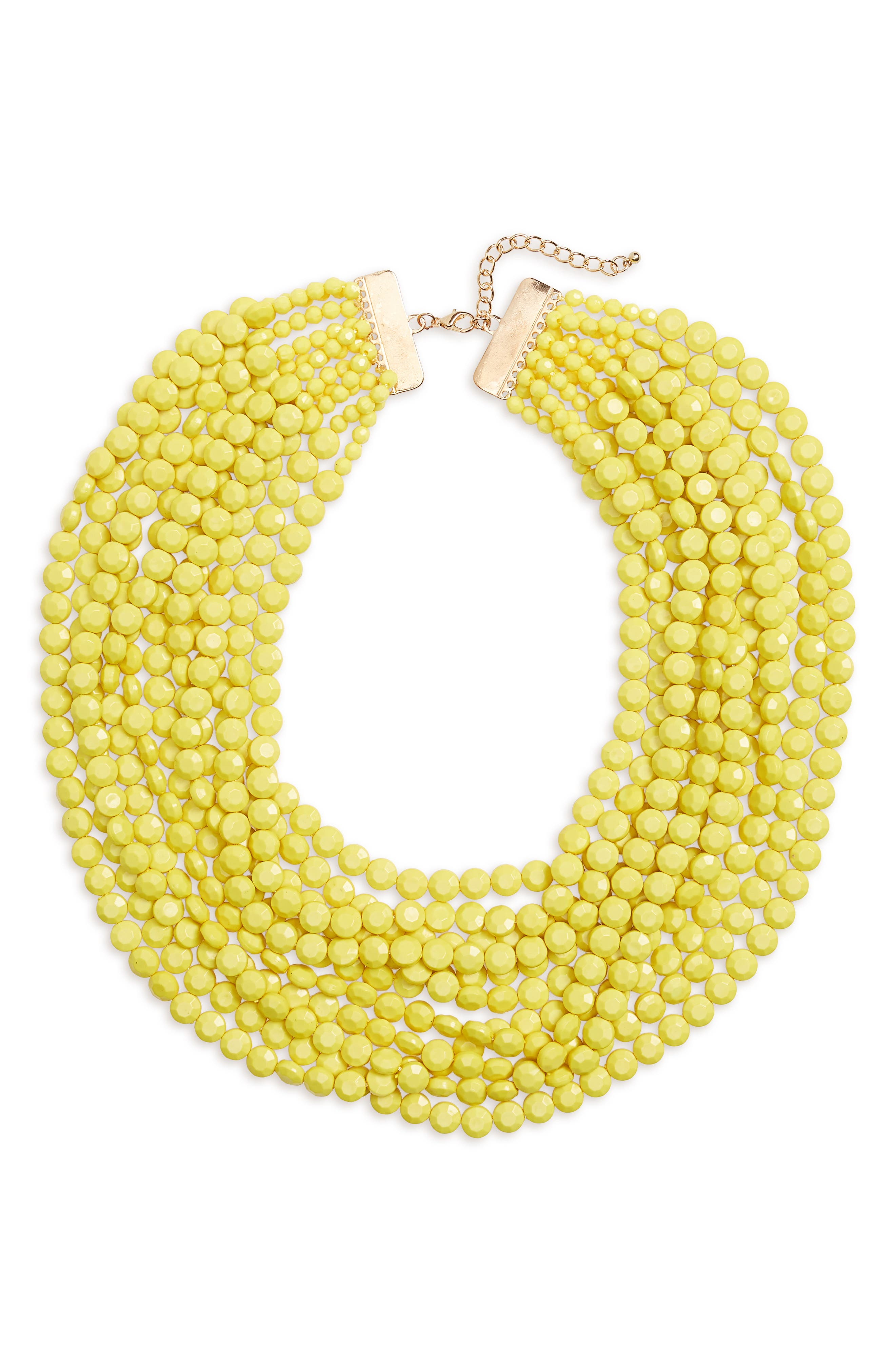 Multilayer Stone Necklace,                         Main,                         color, Yellow